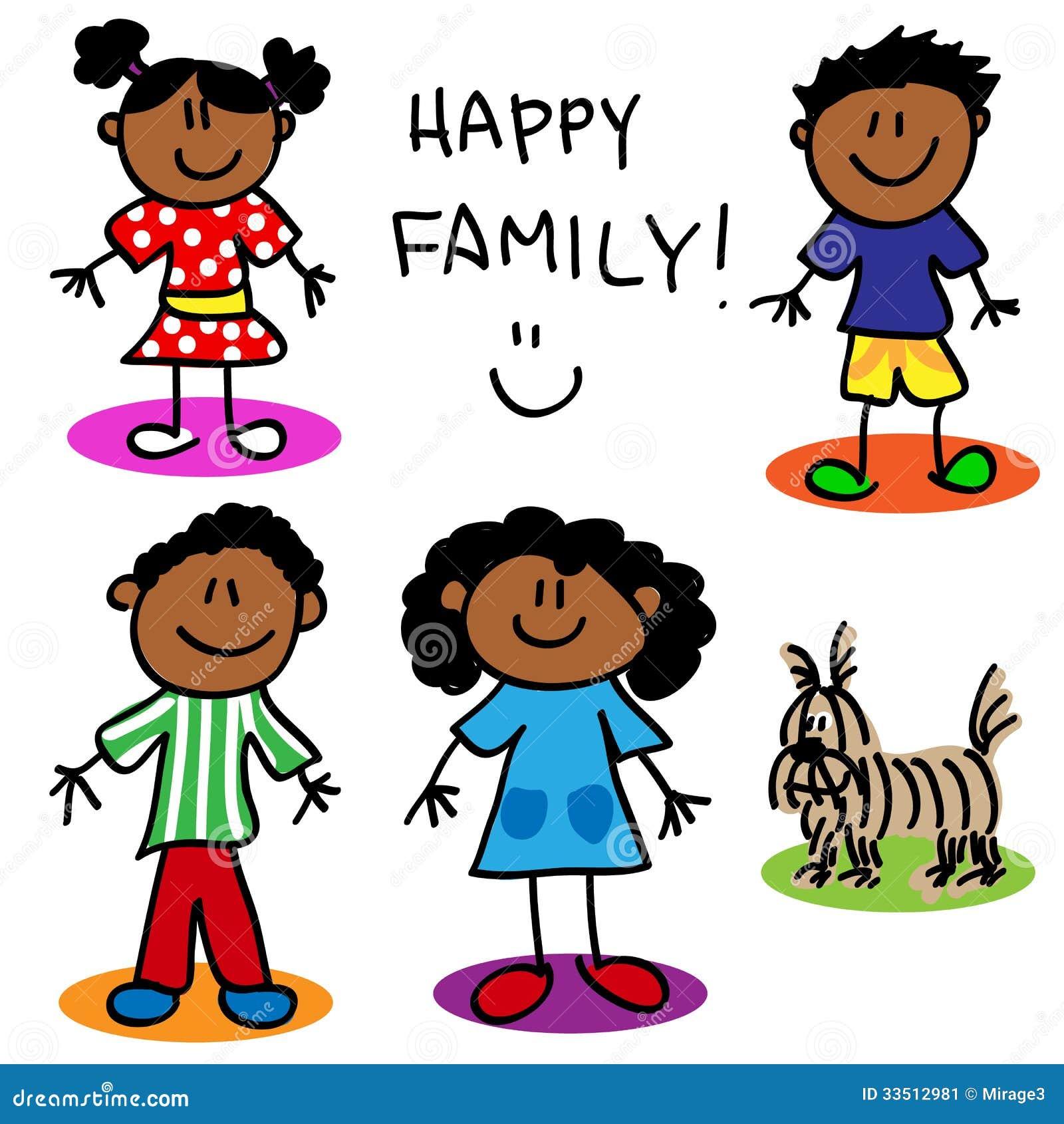 Stick Figure Black Family Stock Image Image 33512981