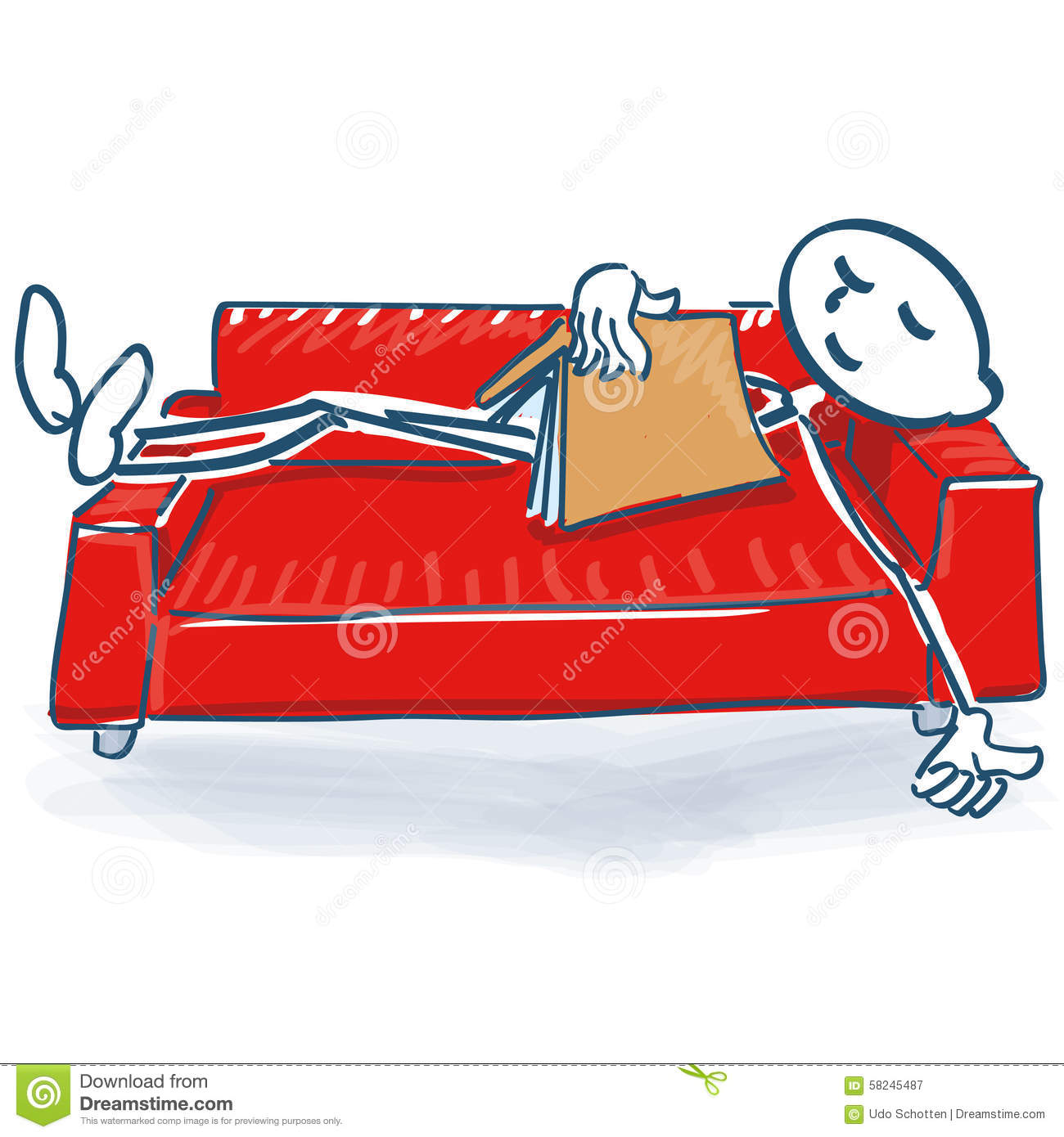 Stick figure with a book sleeping on a sofa bed stock for Schlafcouch sofa