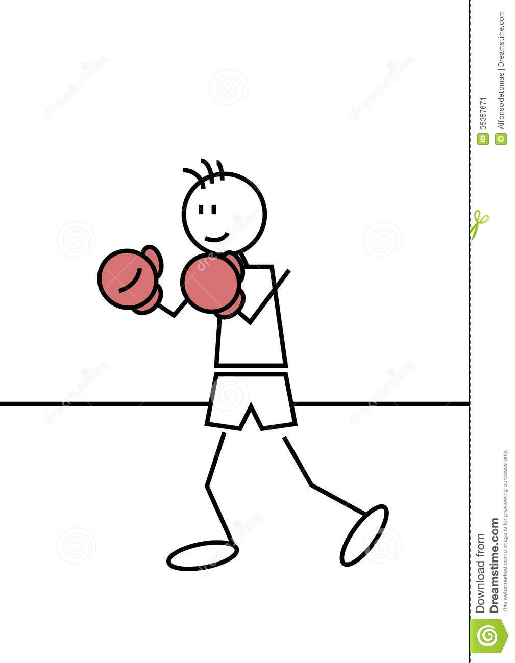 Stick figure of a boy boxing. Sports and leisure concept.