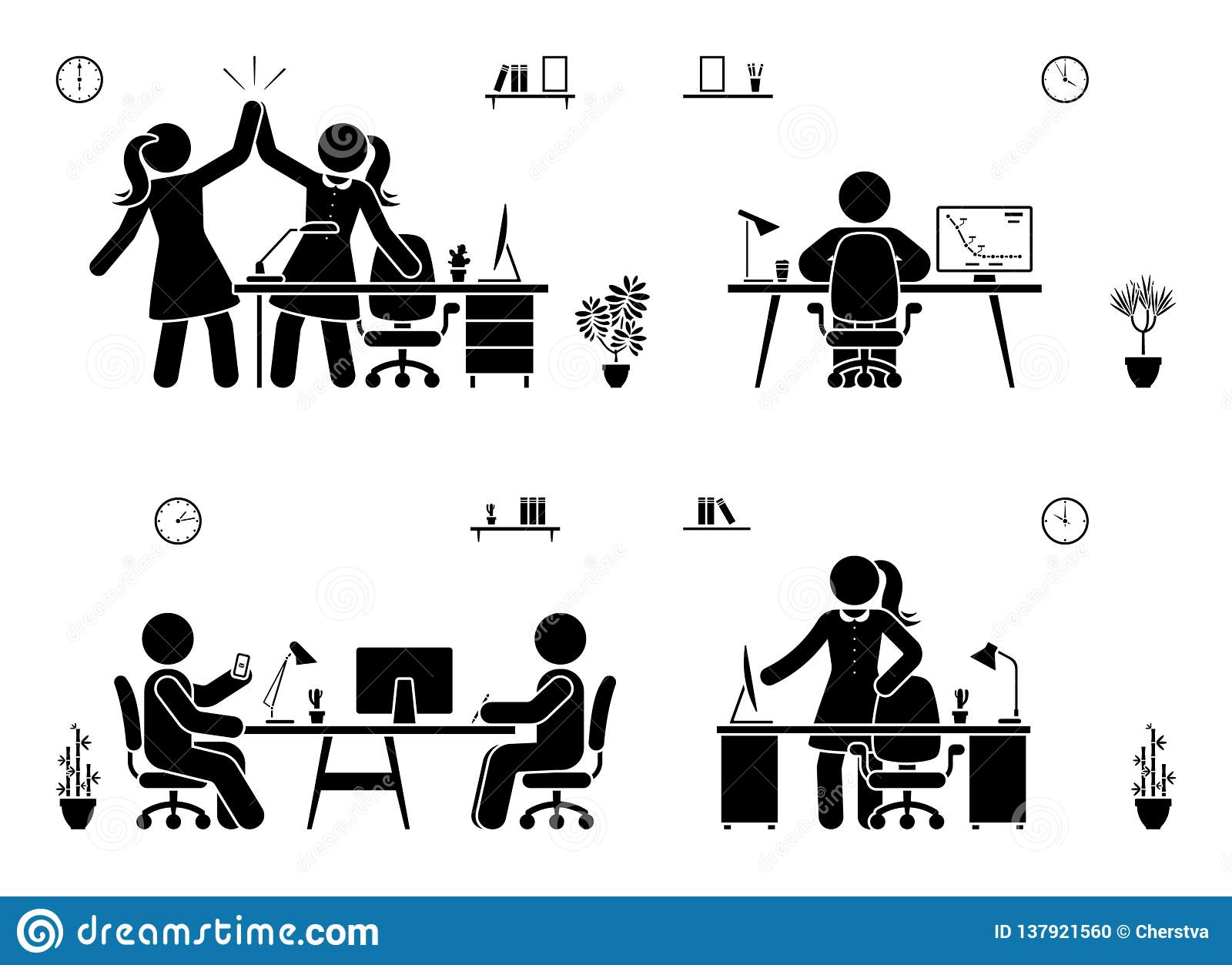 Stick figure business office vector icon silhouette on white. Men and women happy, working, sitting, reporting, writing people pic