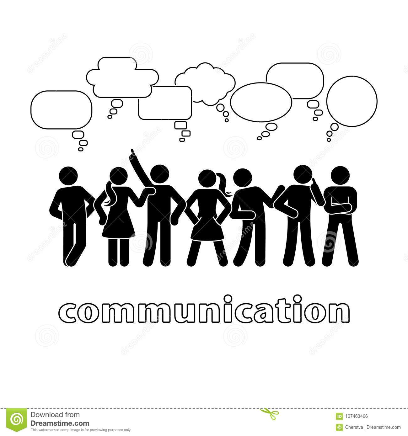 stick figure dialog communication speech bubbles set thinking clip art bubble thinking clip art emoji