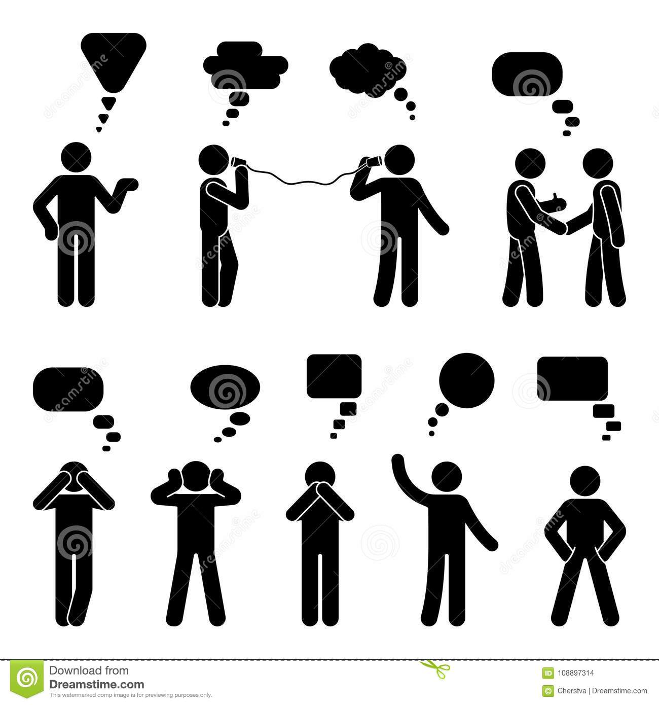 Stick figure dialog speech bubbles set. Talking, thinking, communicating body language man conversation icon pictogram.