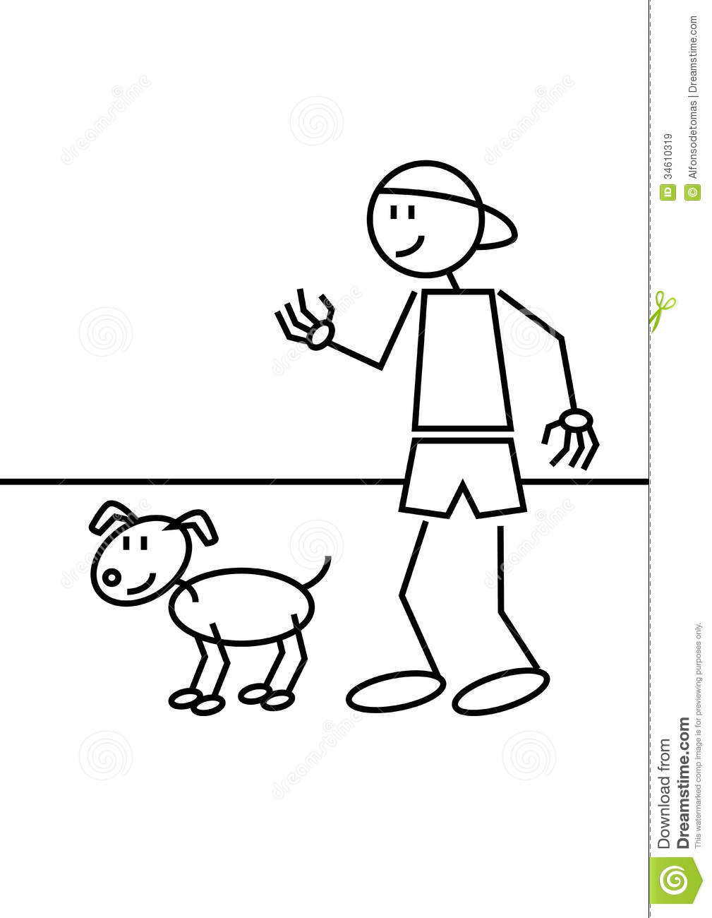 Stick Figure Of A Boy With Cap An His Dog
