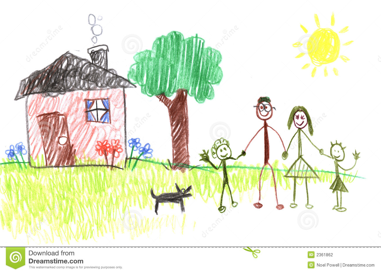 Happy family and their house through the eyes of a toddler.