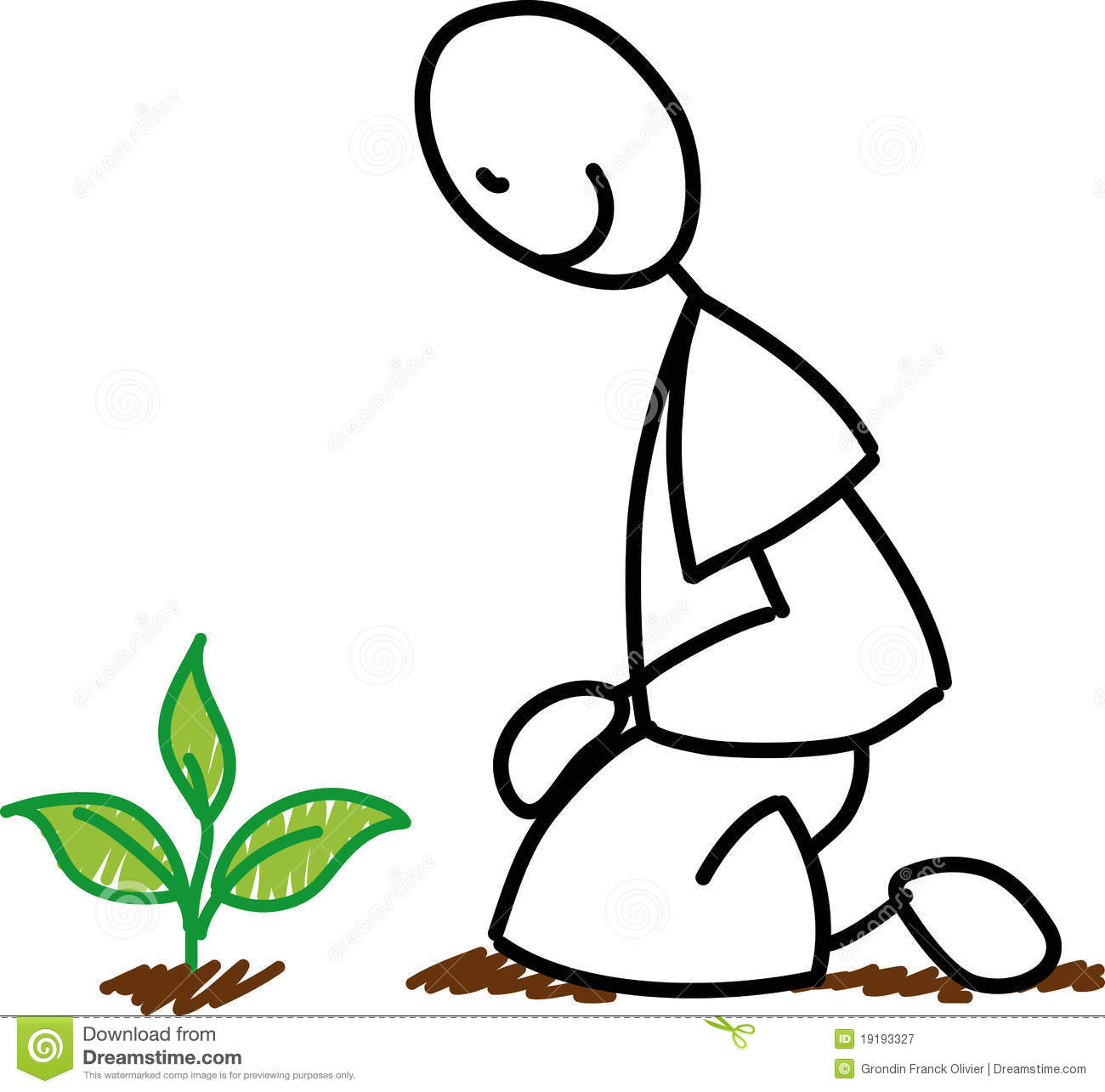 Stick Figure Gardener Planting Stock Vector - Illustration ...