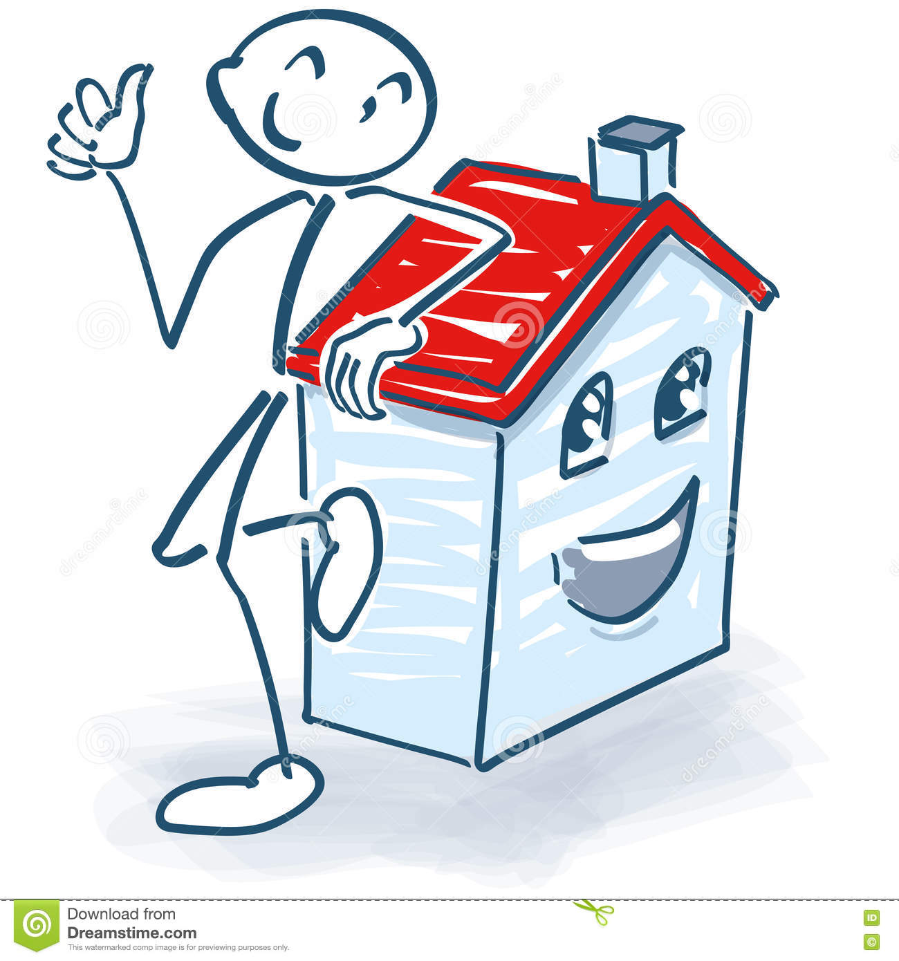 Stick Figure With House And Household Stock Photo Image