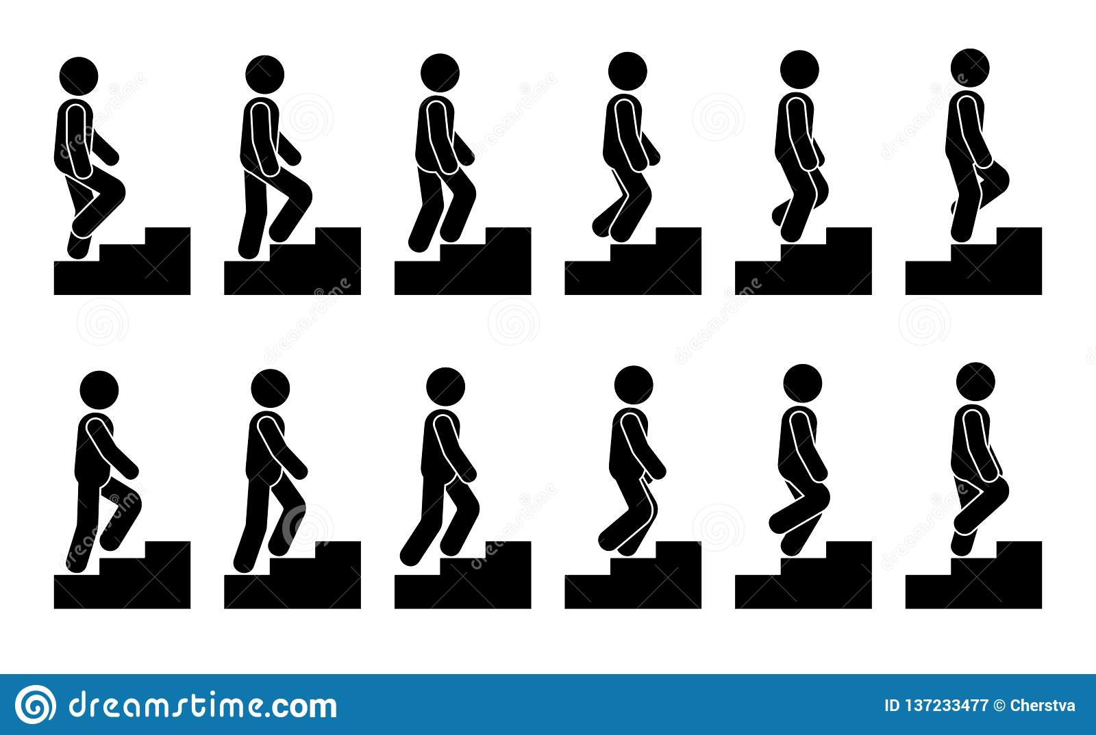 Stick figure male on stairs icon set. Vector man walking step by step sequence pictogram.
