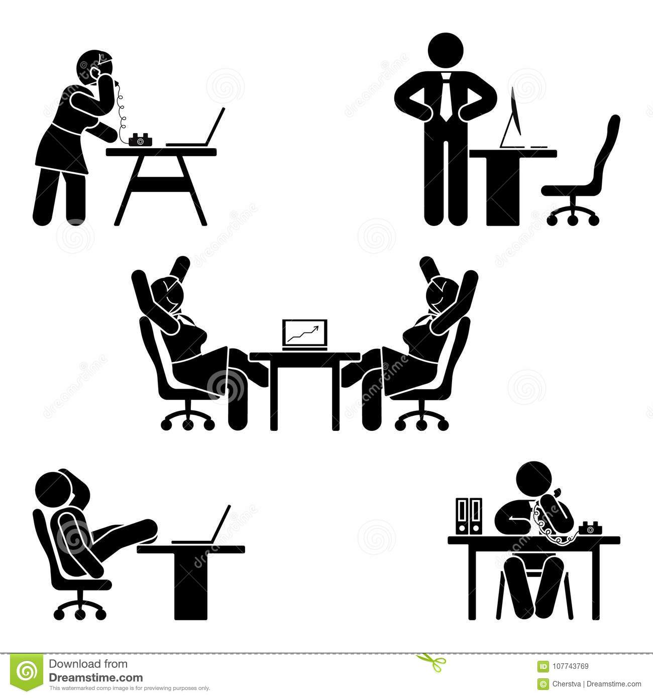 Stick figure office poses set. Business finance workplace support. Working, sitting, talking, meeting, training vector.