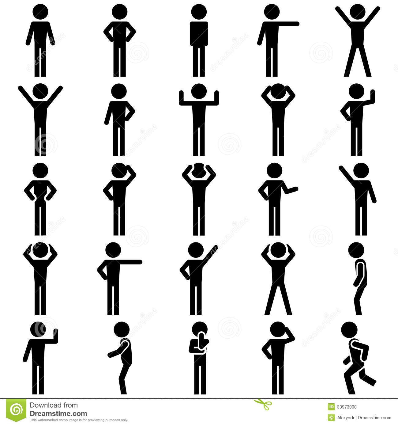 Stick Figure Positions Set Vector Icon Stock Vector