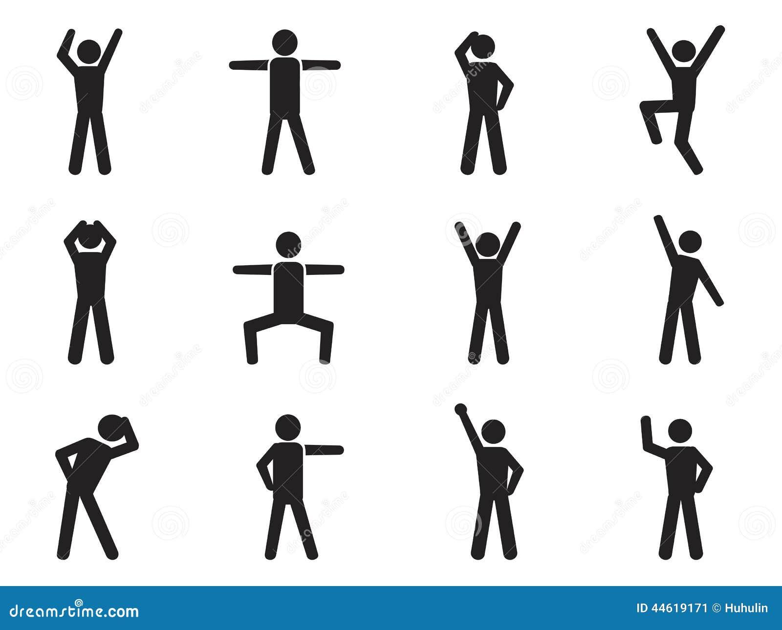 Stick figure posture icons