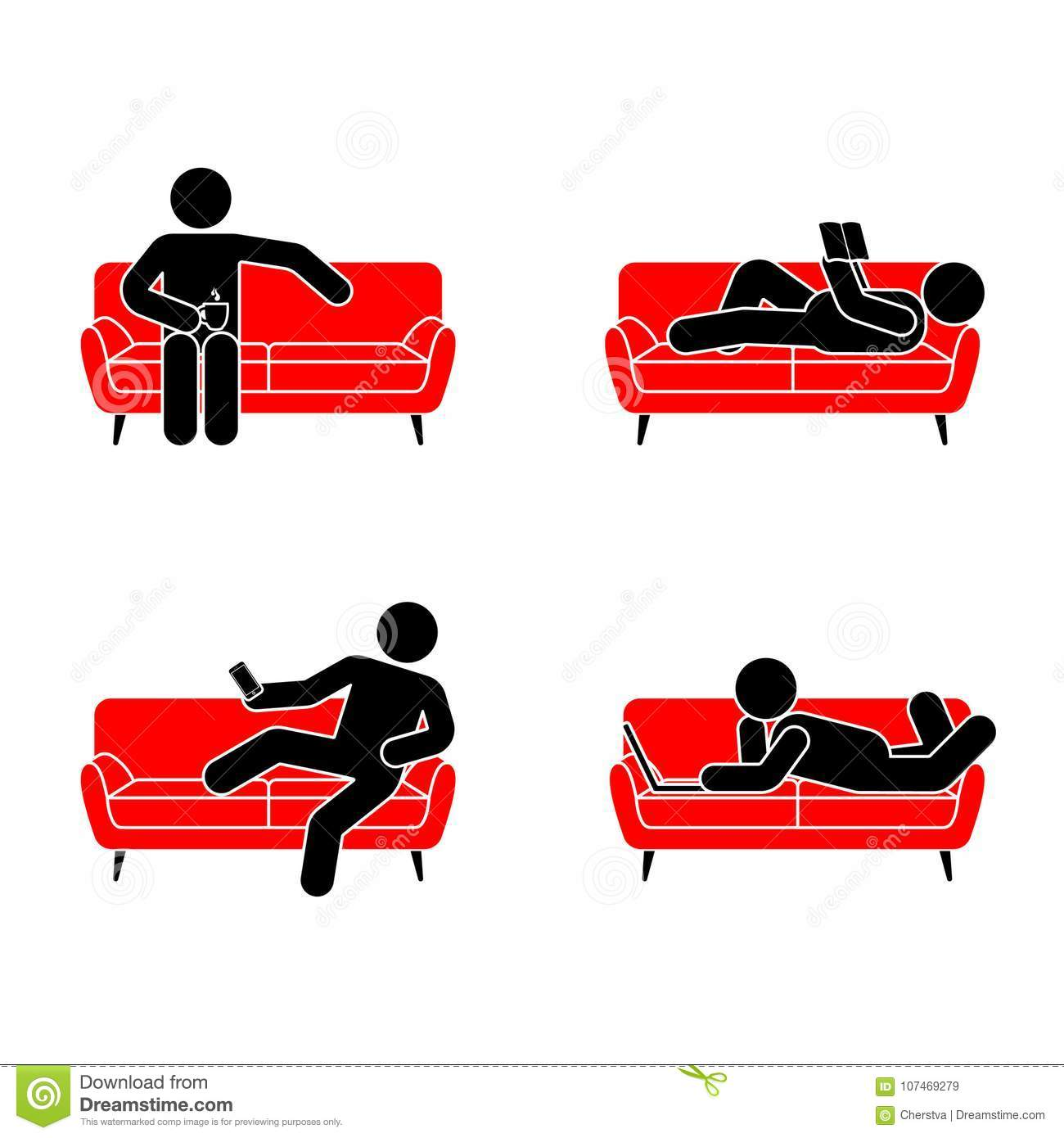 Stick figure resting position set on red sofa. Sitting, lying, reading book, watching phone, drinking tea, using laptop vector.