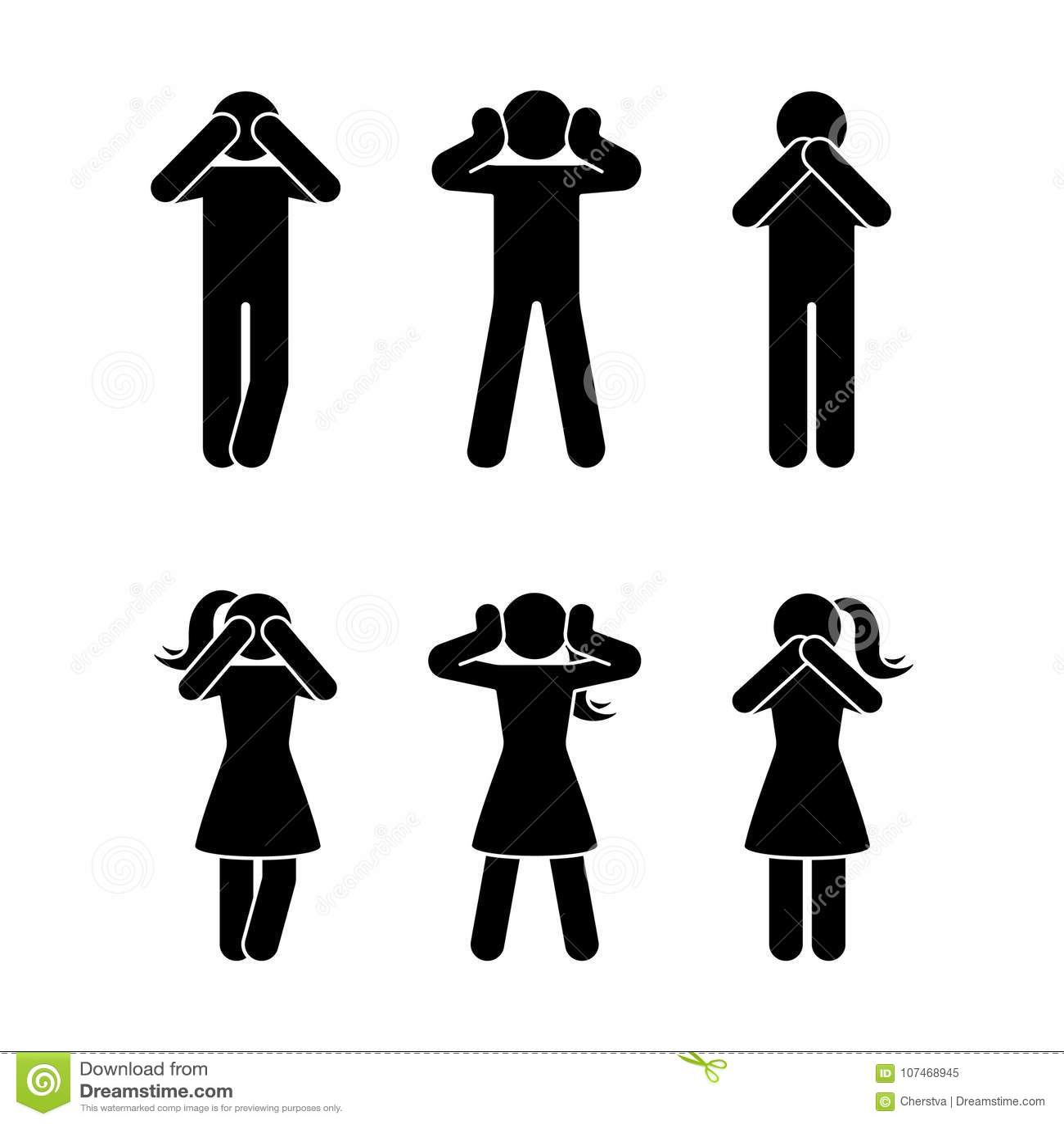 Stick figure set of three wise monkeys pictogram see no evil hear no evil