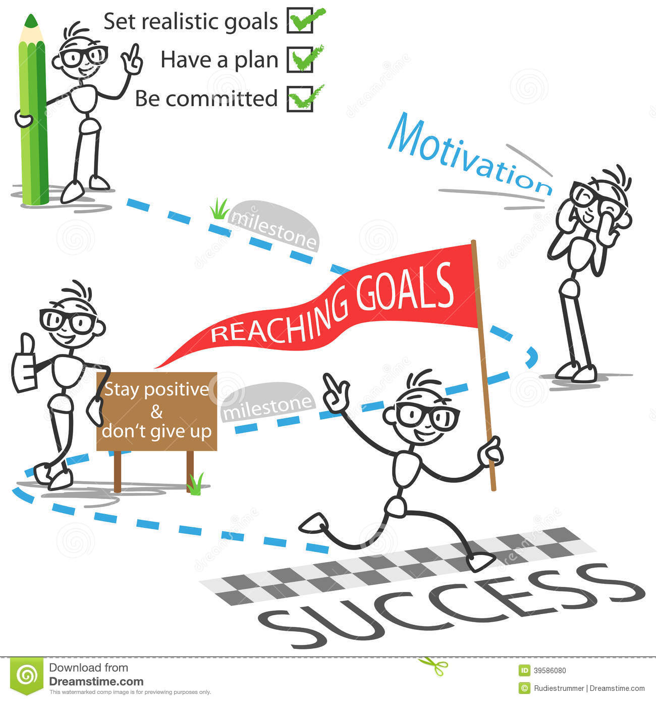 Stick Figure Stickman Reaching Goals Success Motivation ...
