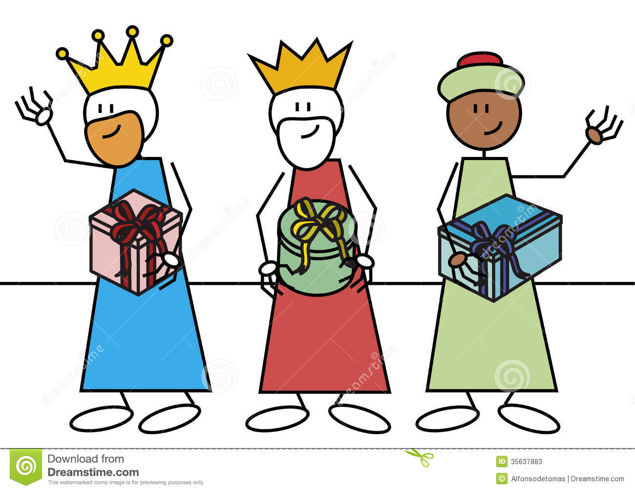 Stick Figure Three Wise Men Stock Photos - Image: 35637883
