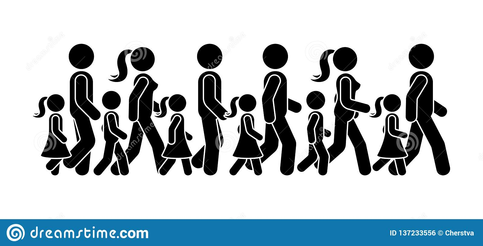 Stick figure walking group of people vector icon pictogram. Man, woman and children moving forward sequence set.