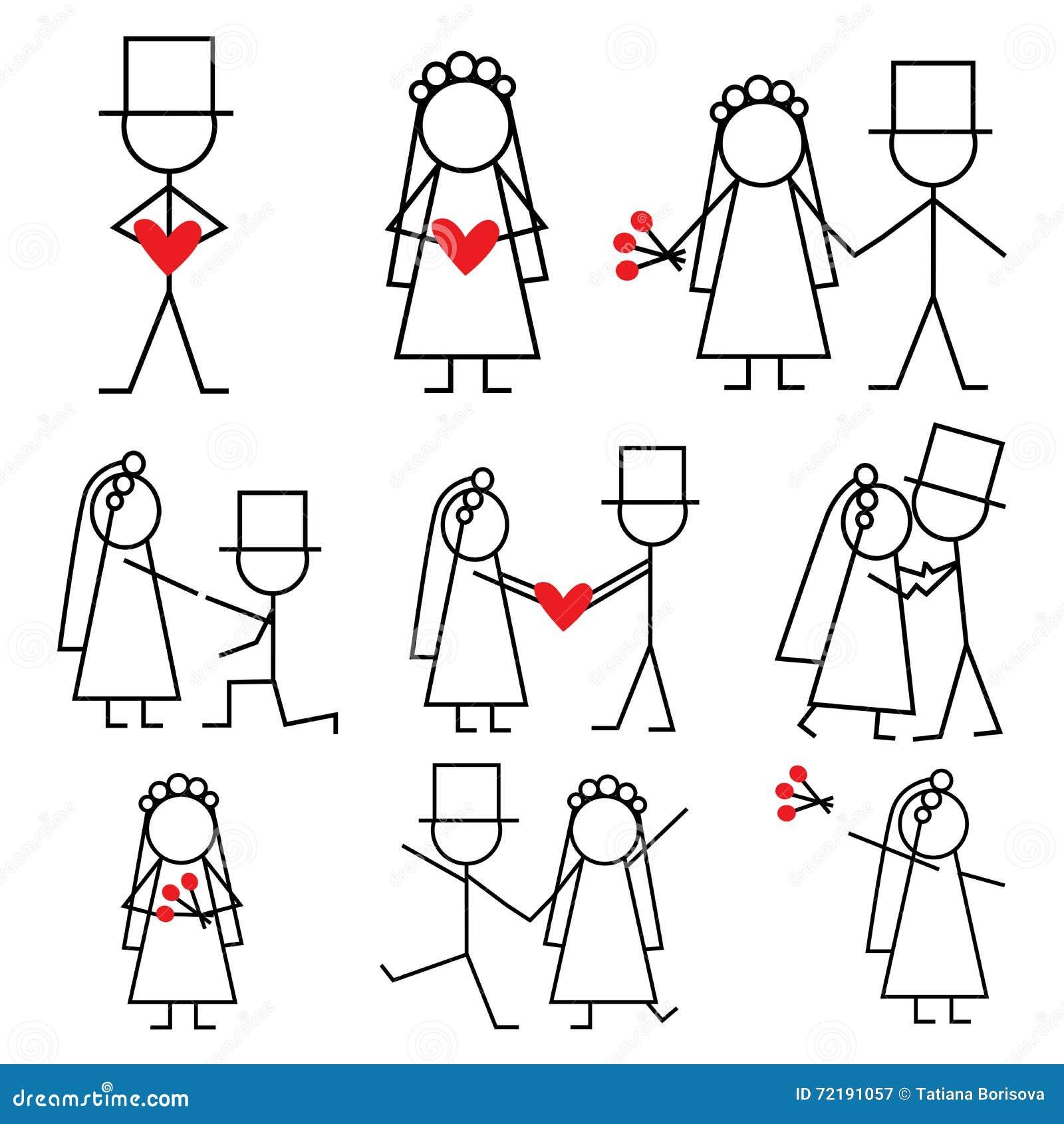 wedding couple stickman bride and groom stock vector illustration