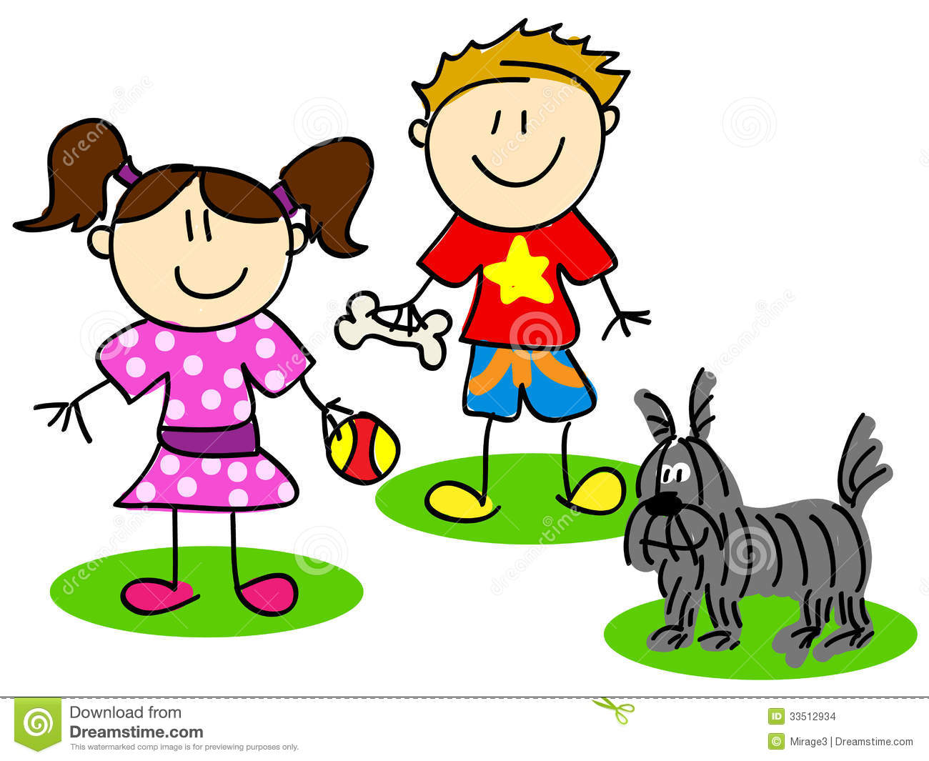 Stick Figures With Dog Stock Images Image 33512934