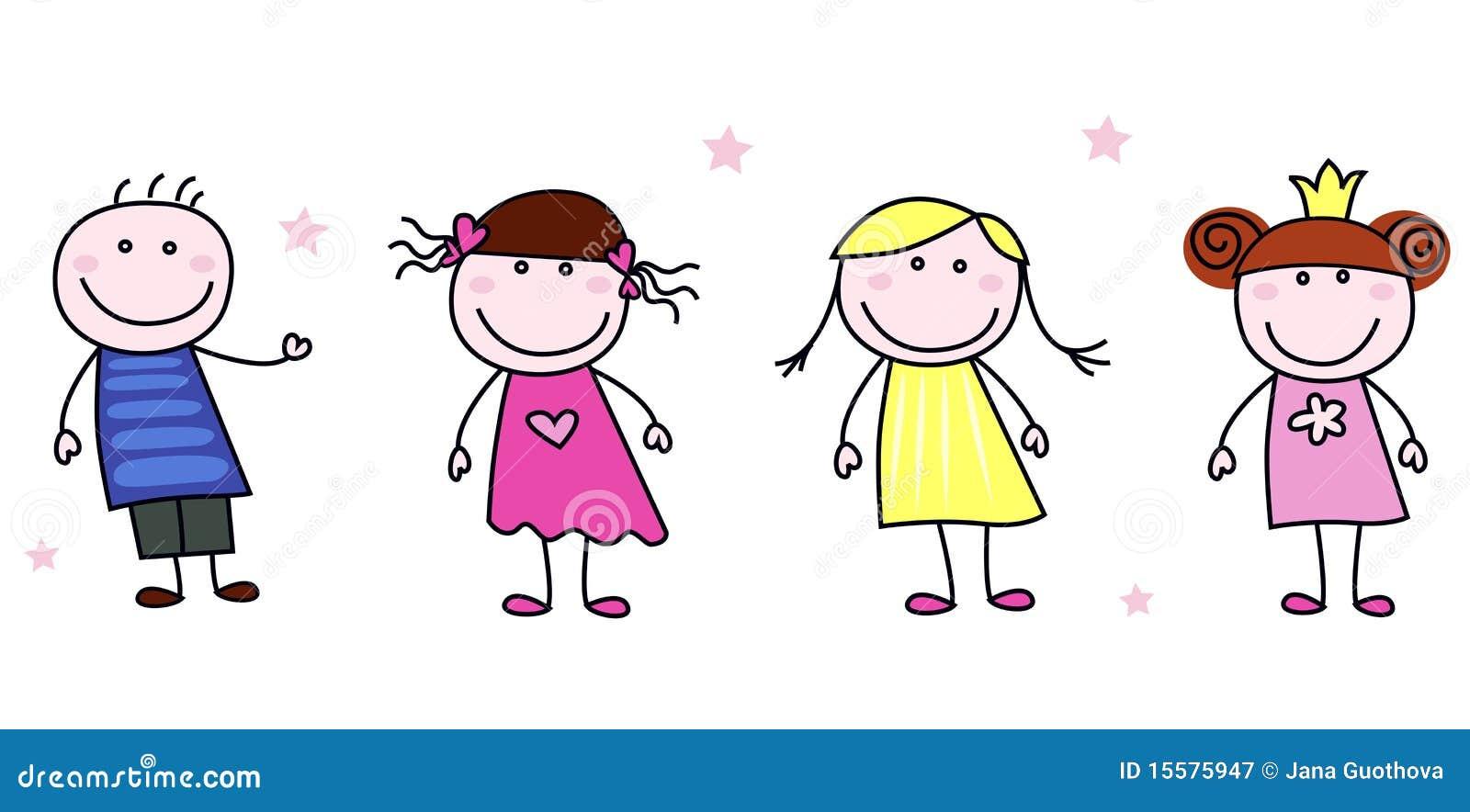 Stick Figures Doodle Children Characters Stock Vector Image 15575947