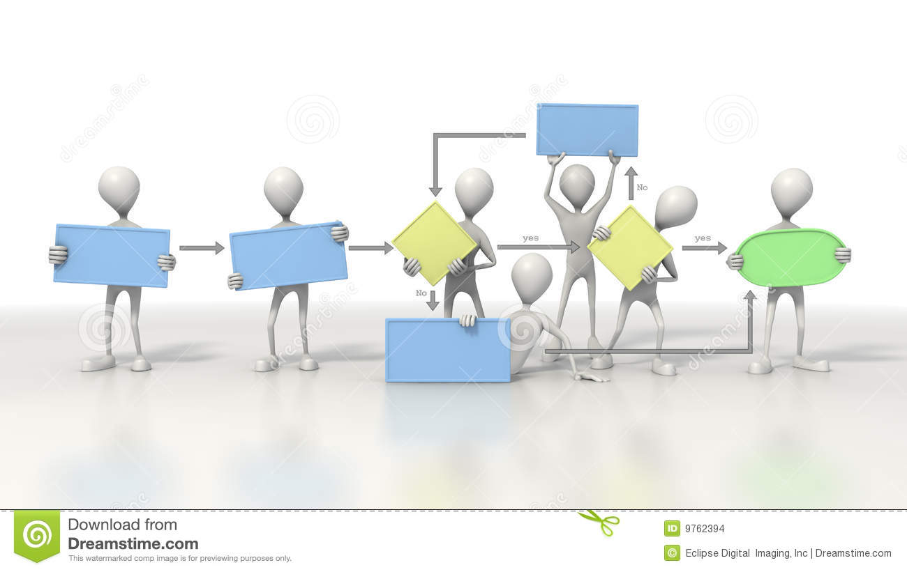 stick figures holding a flow chart stock images