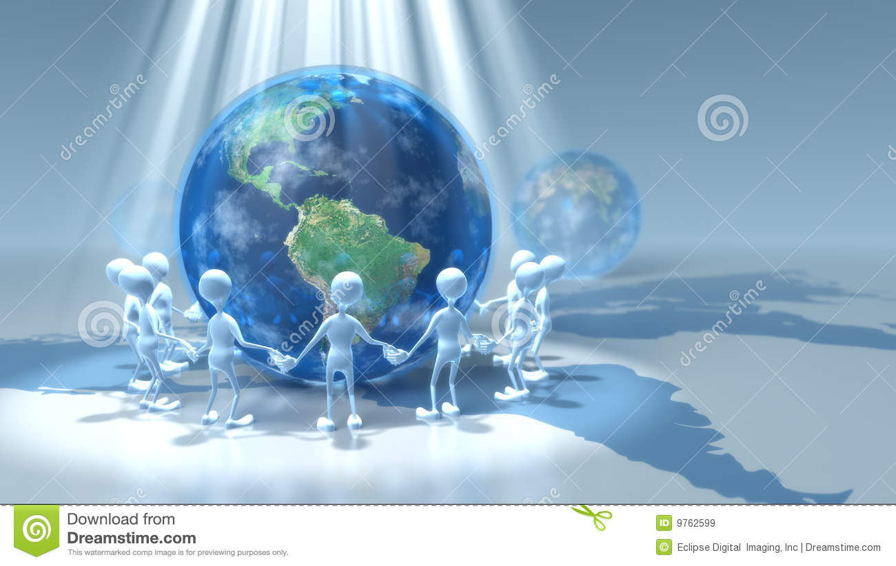 stick figures holding hands around earth royalty free stock images