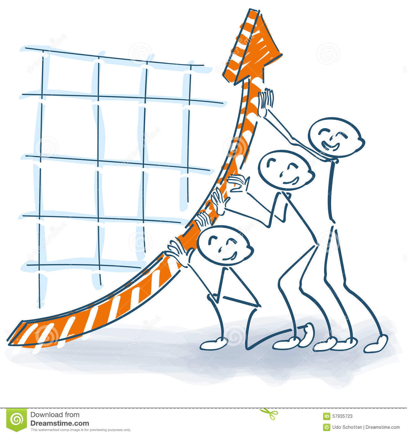 Stick Figures Pushing The Sales Up Stock Vector