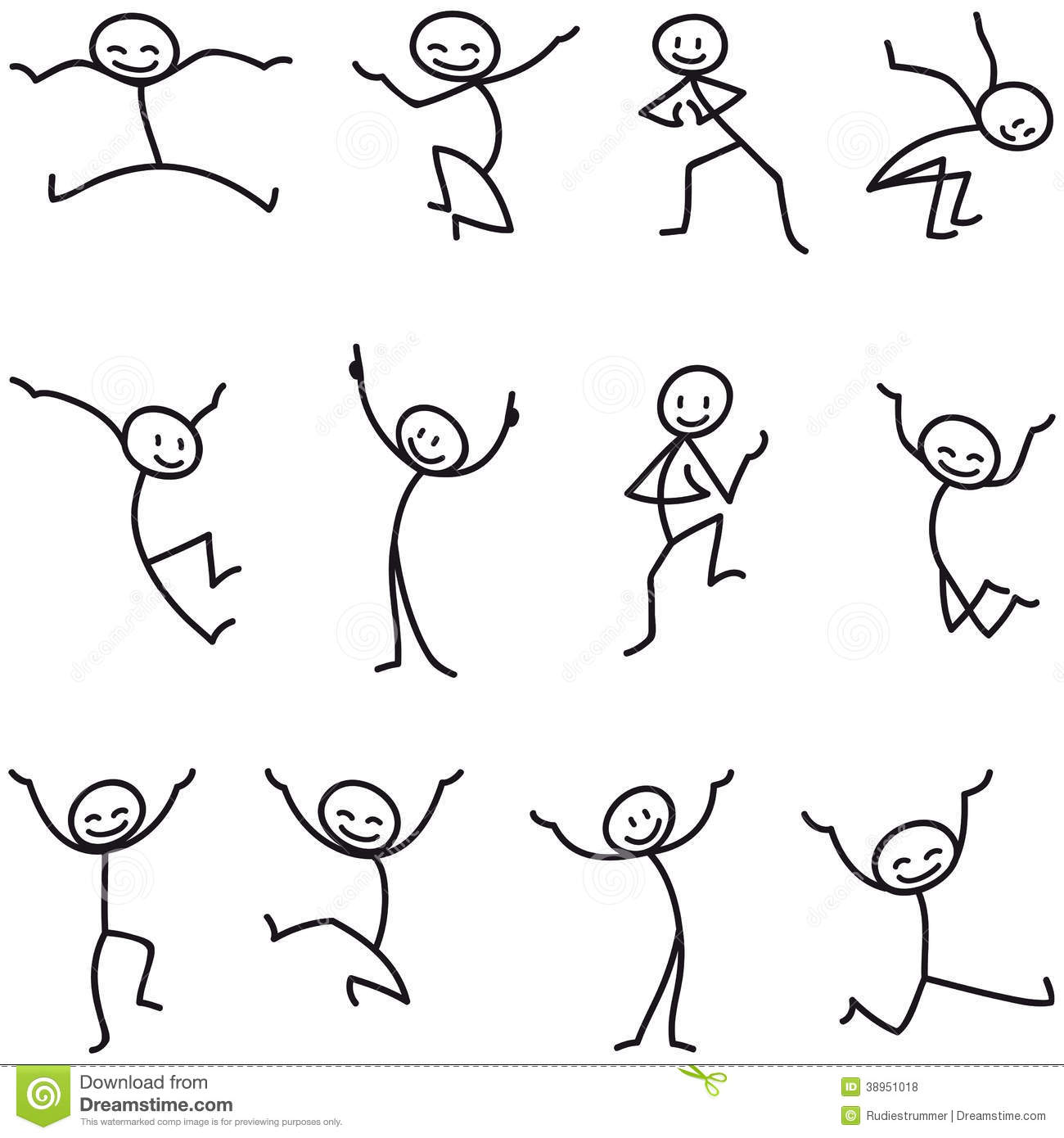 Stick Man Stick Figure Happy Jumping Celebrating Stock