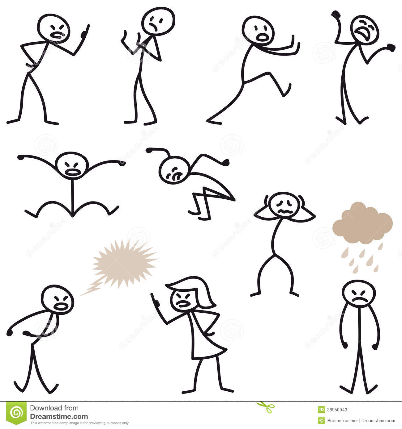 Stick Man Stick Figures Angry Bad Tempered Upset Stock Vector
