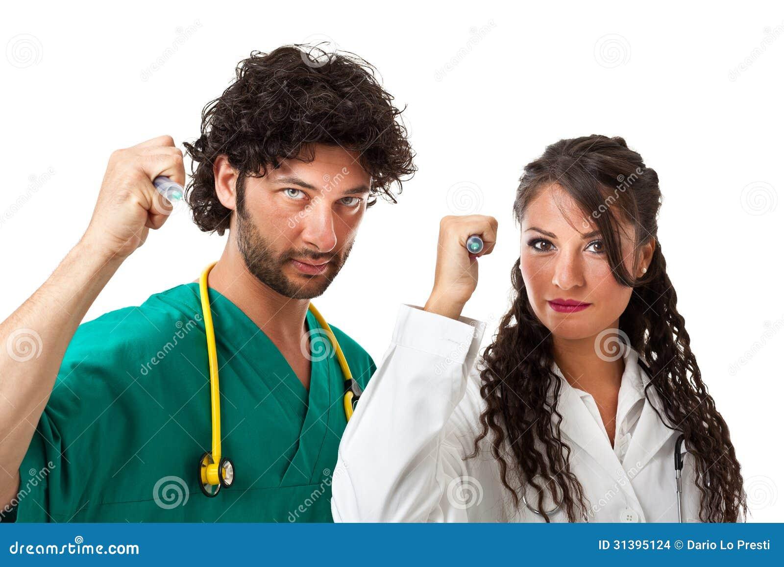 Sticka med injektionssprutor