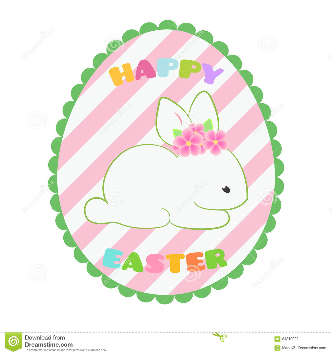 sticker banner badge with white easter rabbit cute bunny in egg