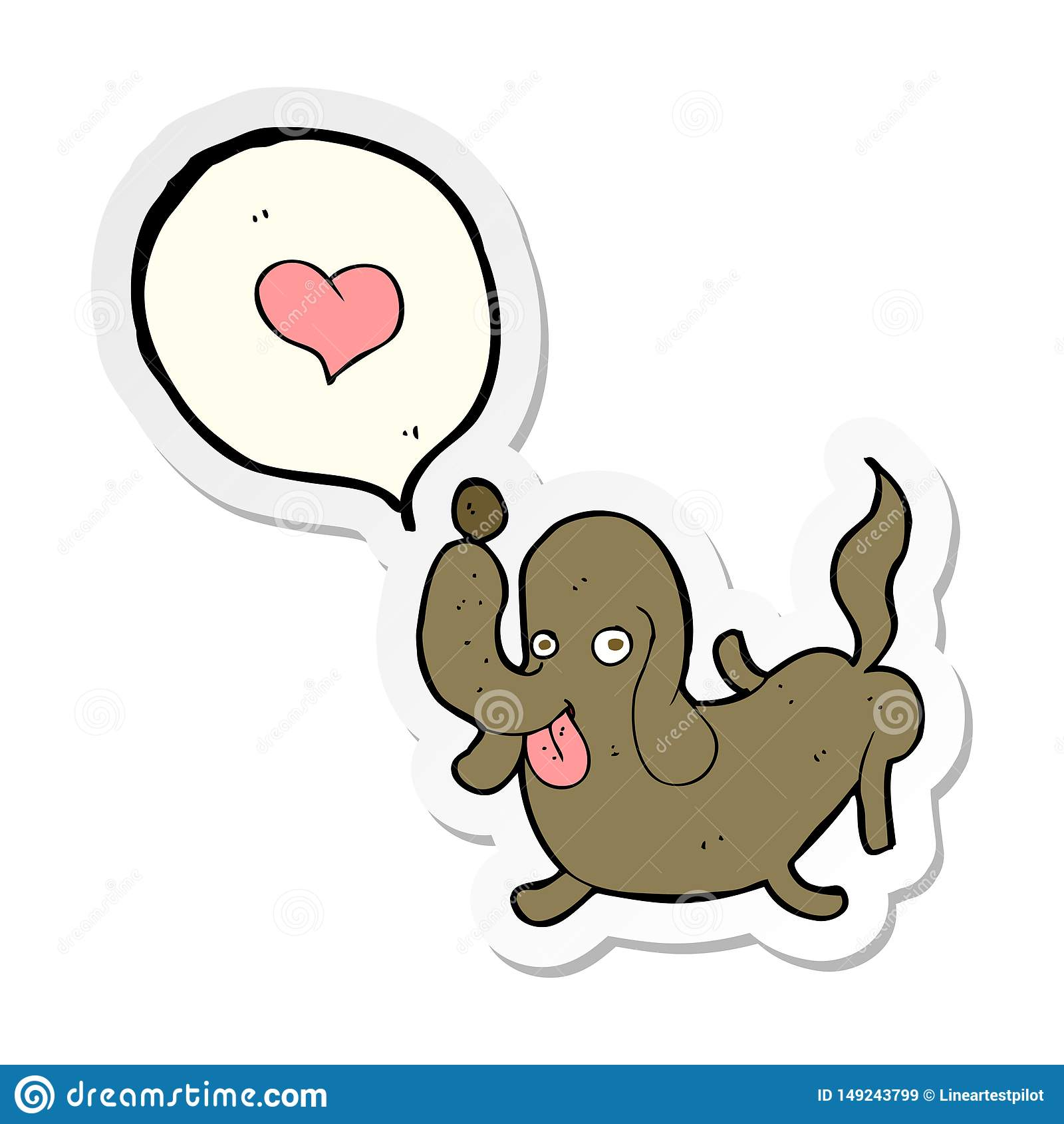 Sticker Of A Cartoon Dog With Love Heart Stock Vector ...