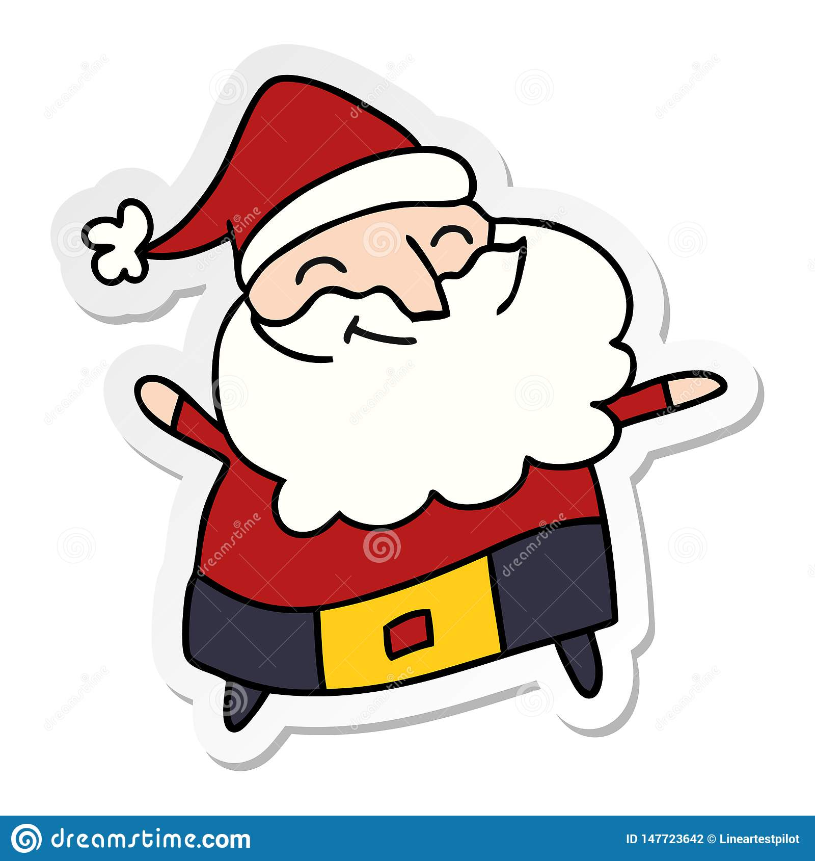 Father Christmas Cartoon Images.Sticker Cartoon Of A Jolly Father Christmas Stock Vector