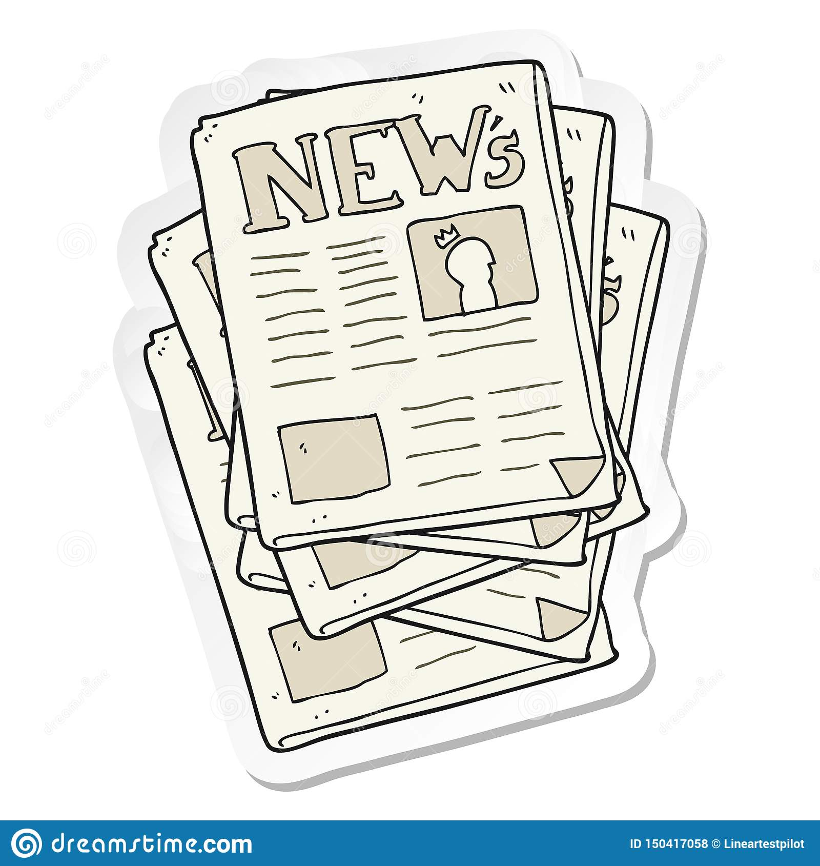 Sticker Of A Cartoon Newspaper Stock Vector - Illustration