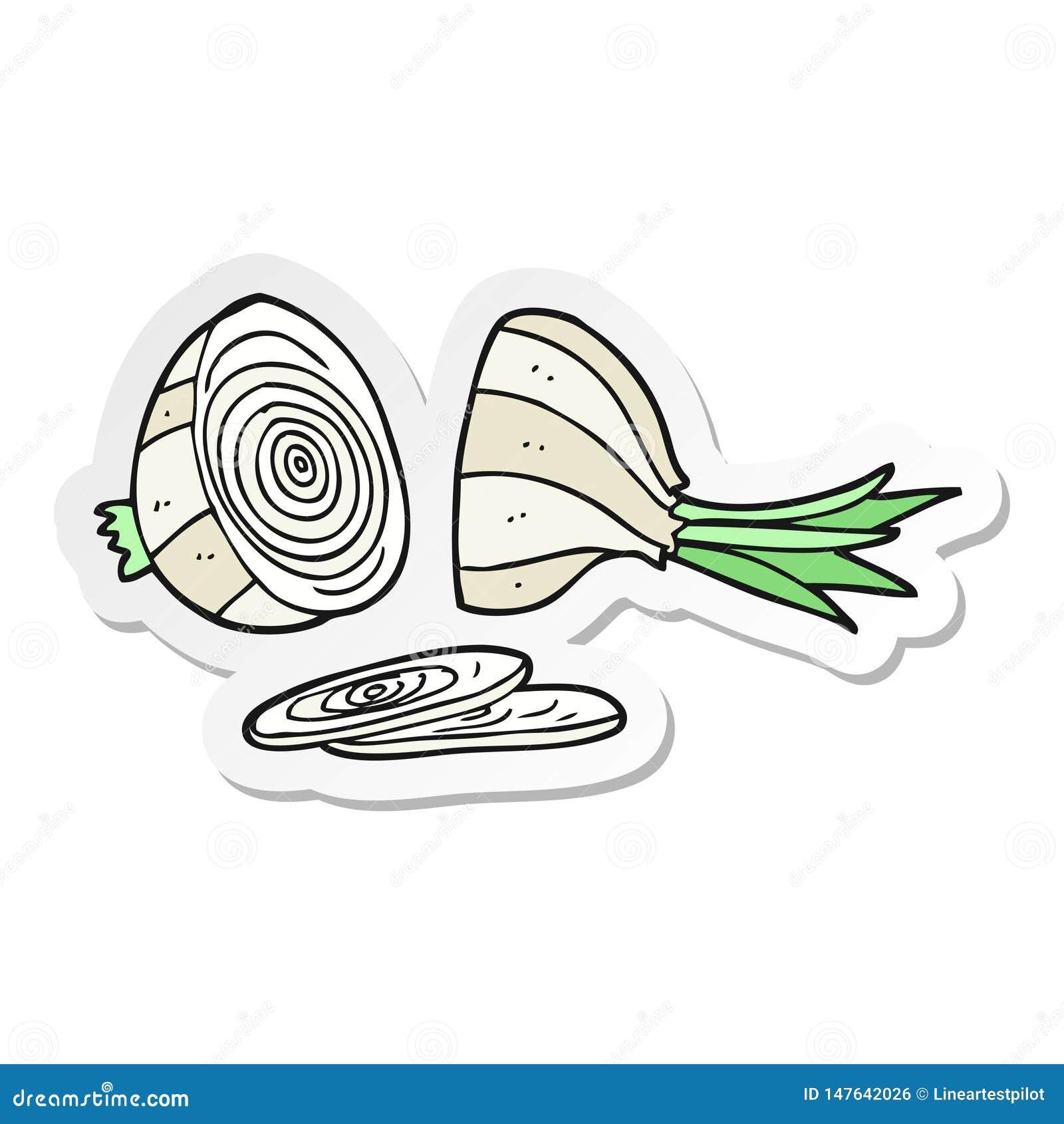 Sticker Of A Cartoon Sliced Onion Stock Vector ...