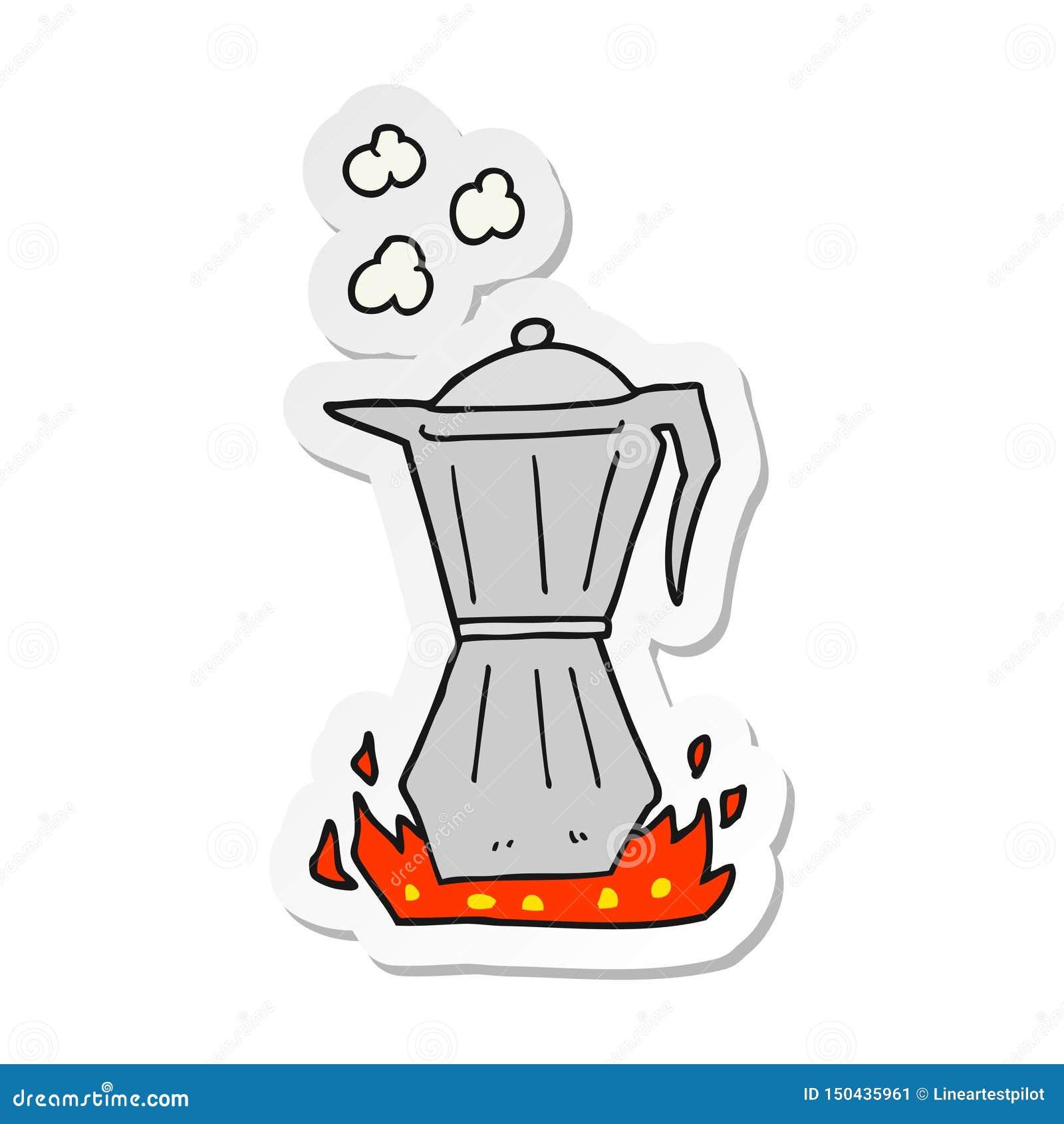 sticker of a cartoon stovetop espresso maker