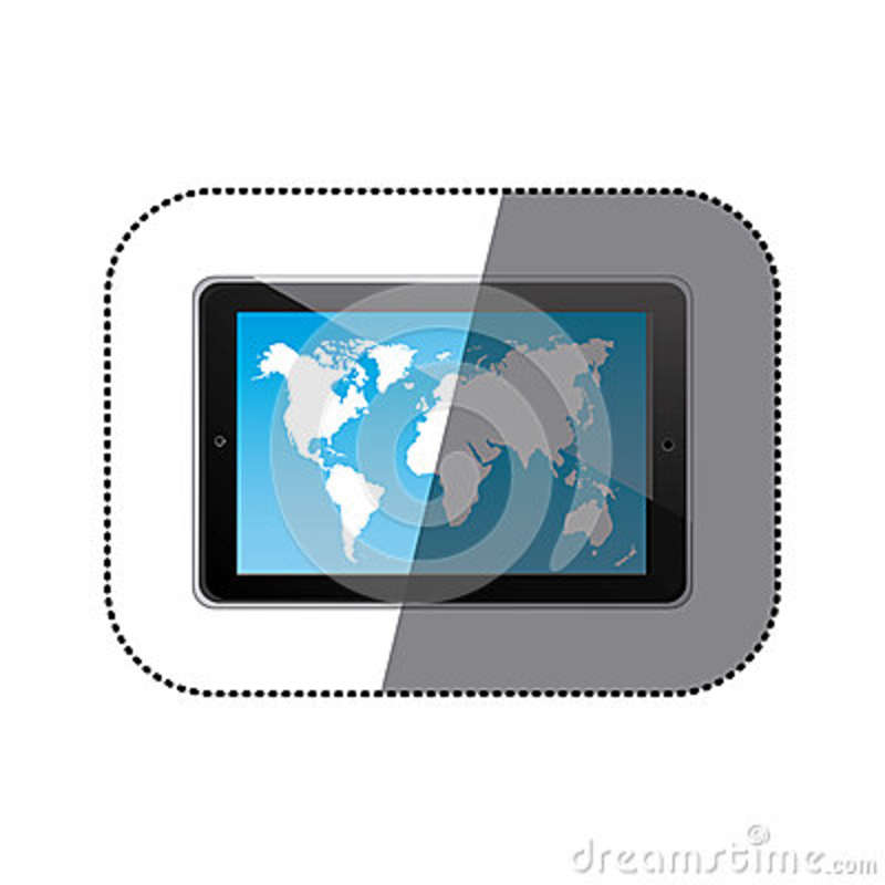 Sticker Color Silhouette Tablet In Horizontal Position And World Map ...