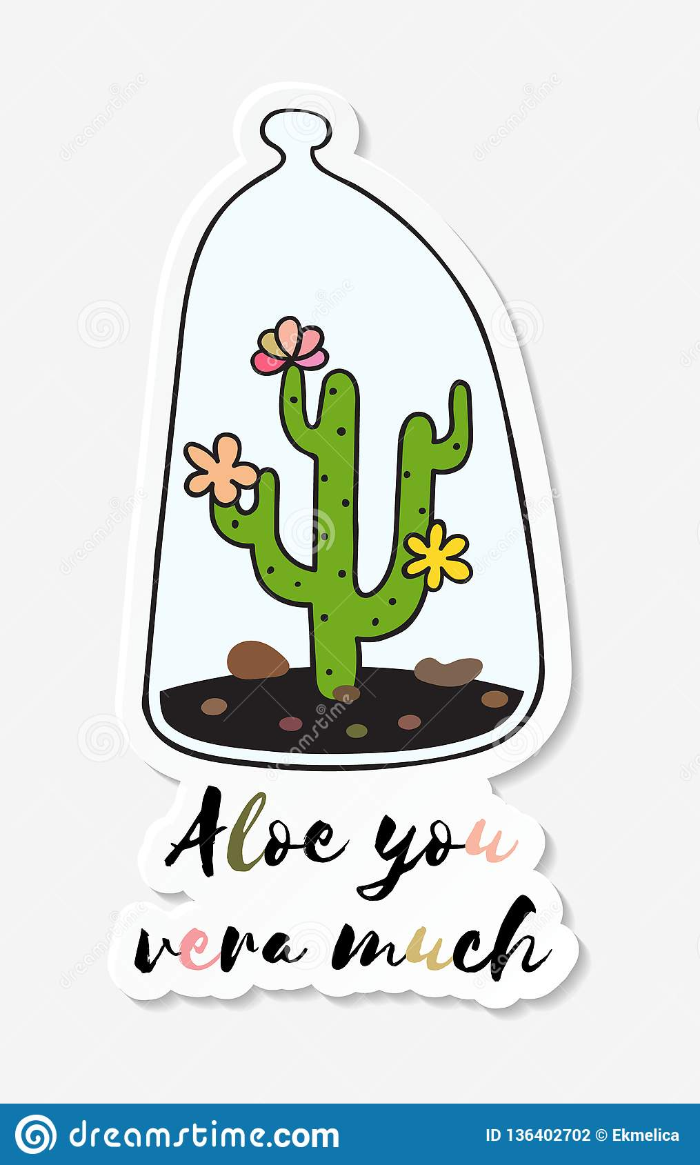 Sticker With Colored Funny Cute Cactus Stock Vector Illustration
