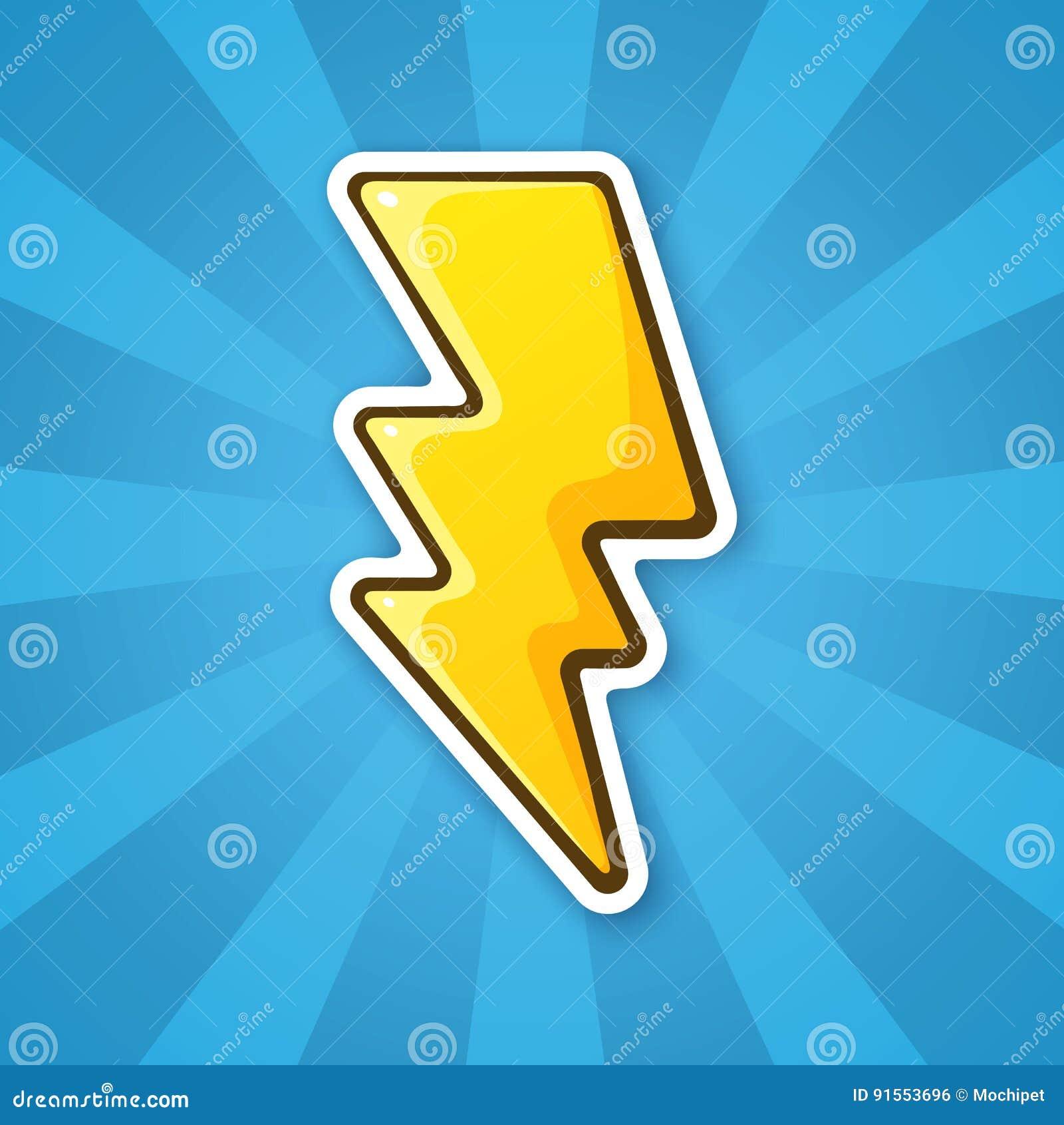 Sticker Electric Lightning Bolt Stock Vector   Illustration of ...