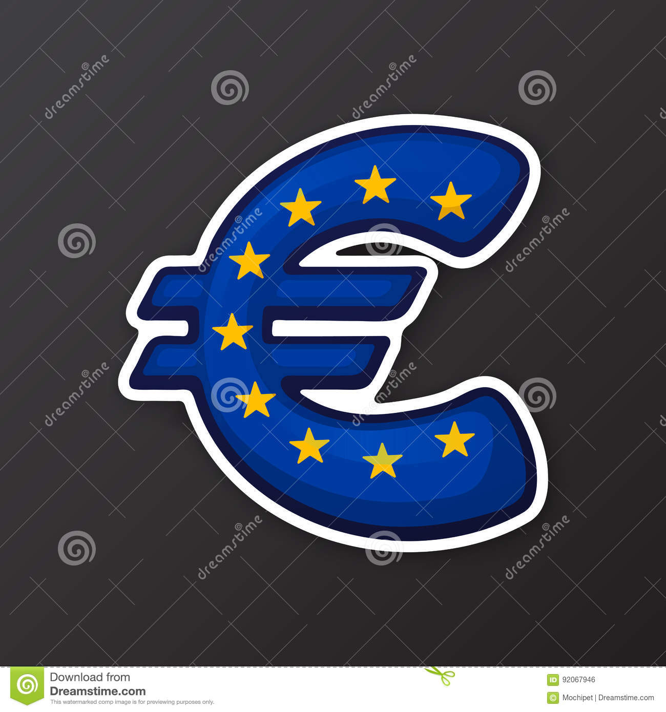 Sticker Euro Sign In Flag Colors Of European Union Stock Vector