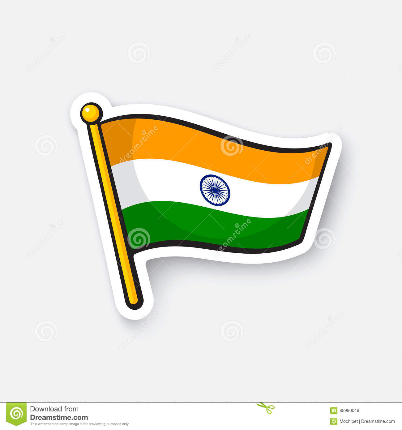 Sticker flag of india on flagstaff