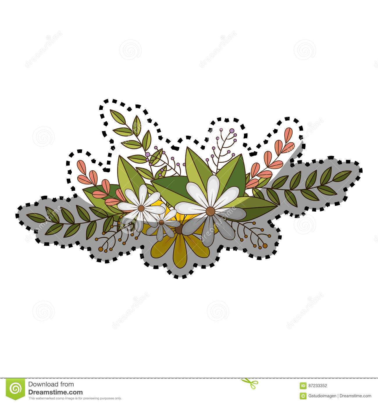 Sticker of flowers crown with floral design and leaves stock vector download sticker of flowers crown with floral design and leaves stock vector illustration of bouquet izmirmasajfo