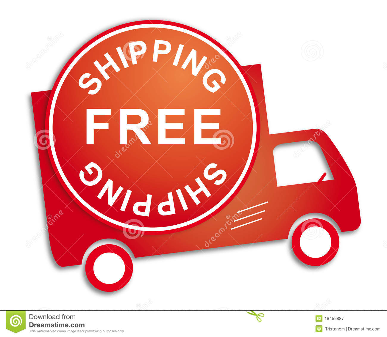 Sticker free shipping red truck