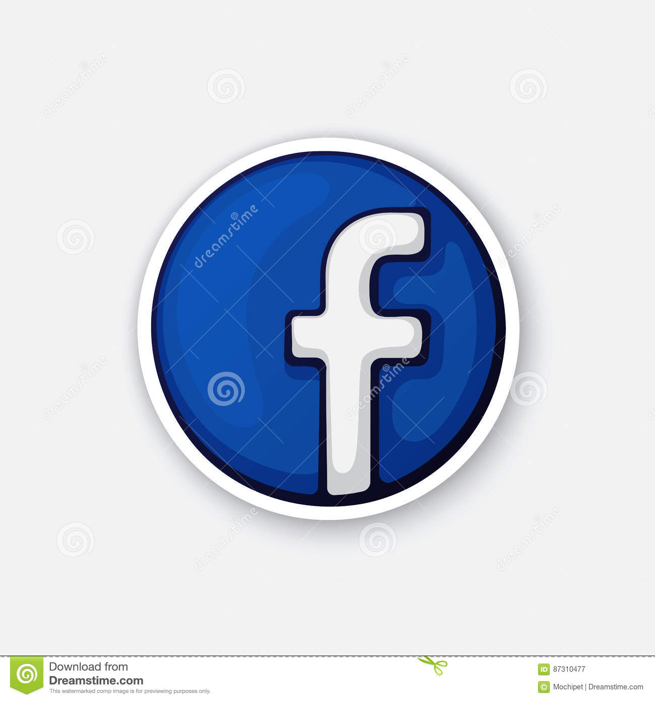 Sticker funny logotype of facebook