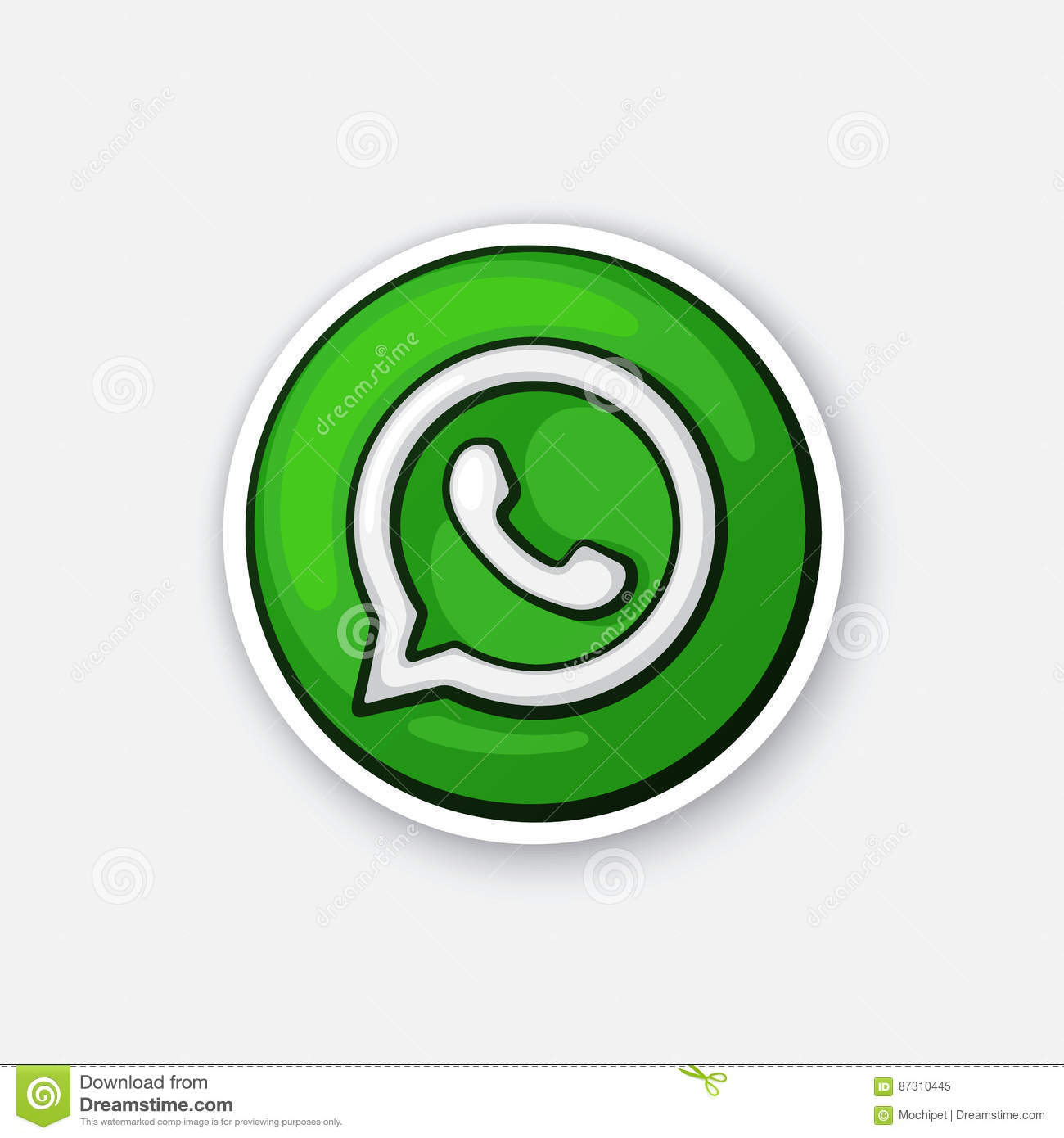 Sticker funny logotype of whatsapp