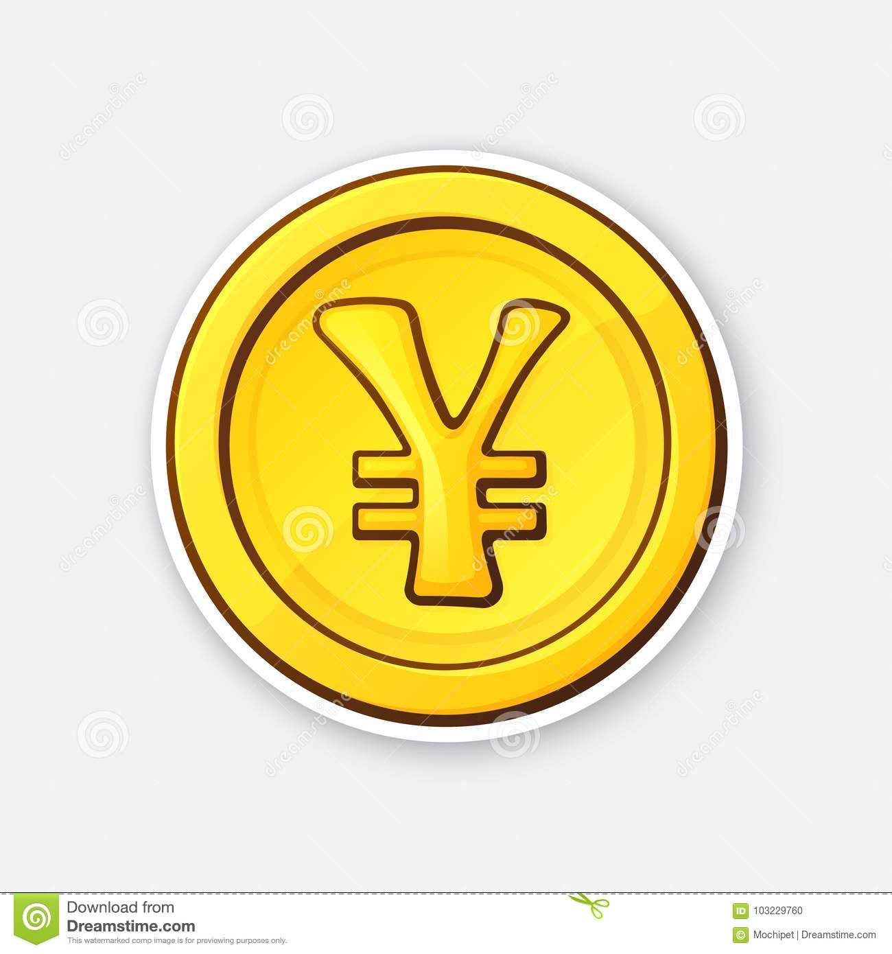 Sticker Of Gold Coin Japanese Yen Or Chinese Yuan Stock Vector