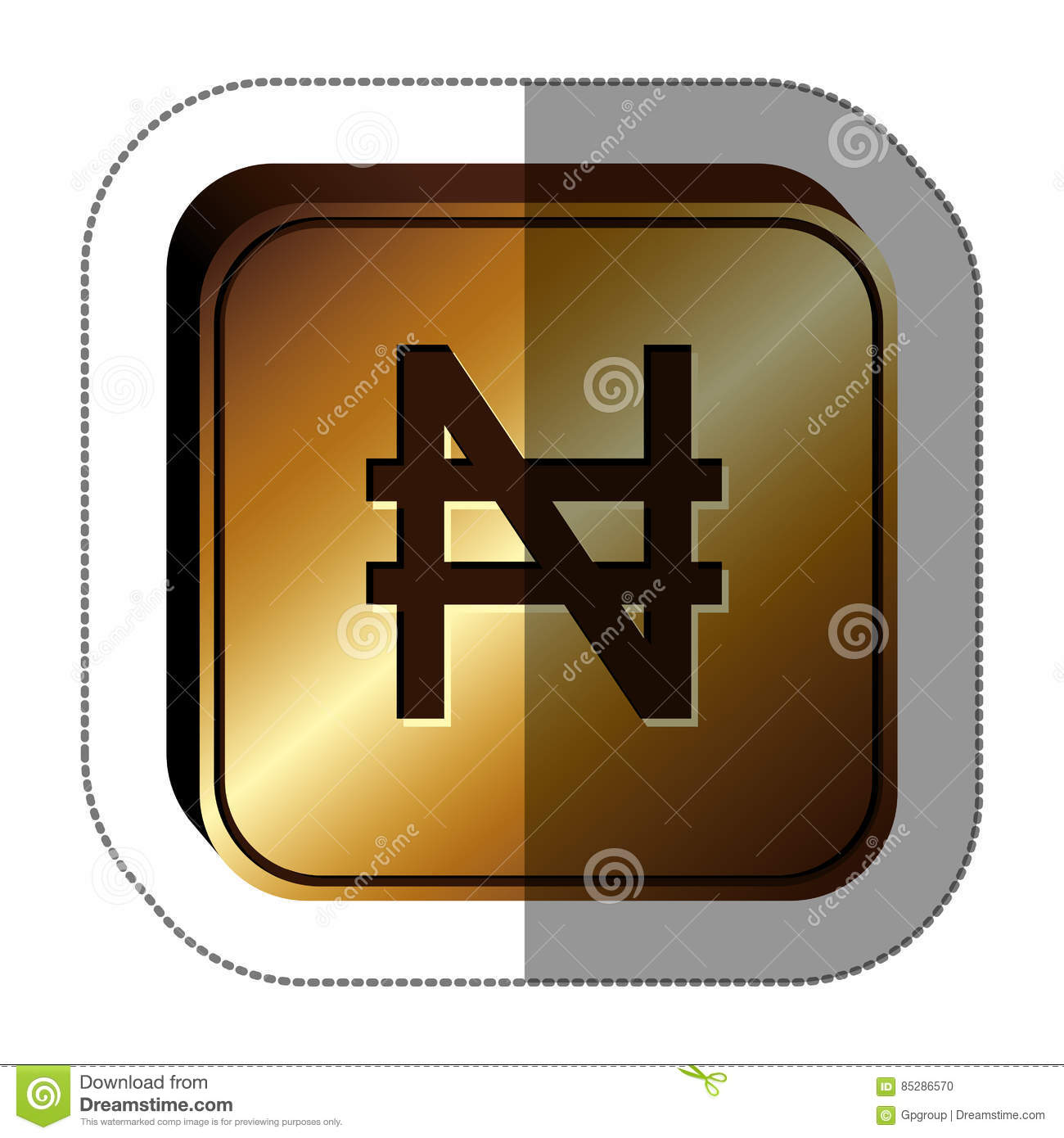 Sticker Golden Square With Currency Symbol Of Nigerian Naira Stock