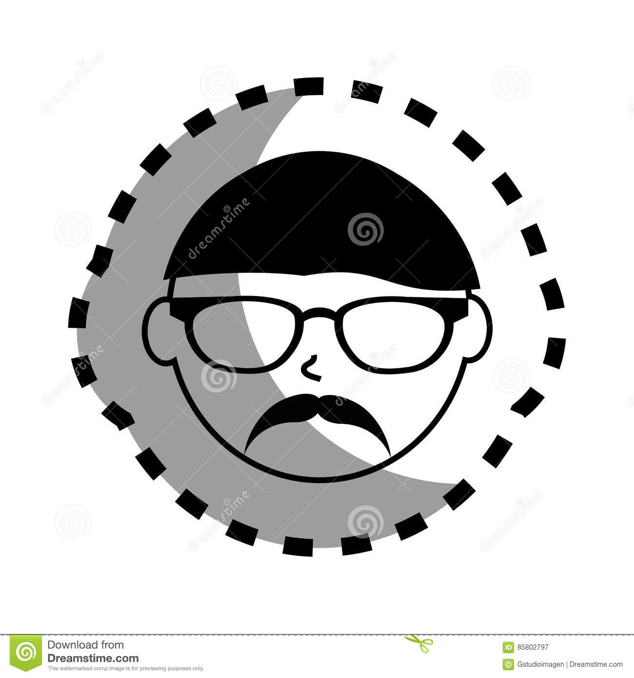 Sticker with man face monochrome with glasses and mustache style mexican
