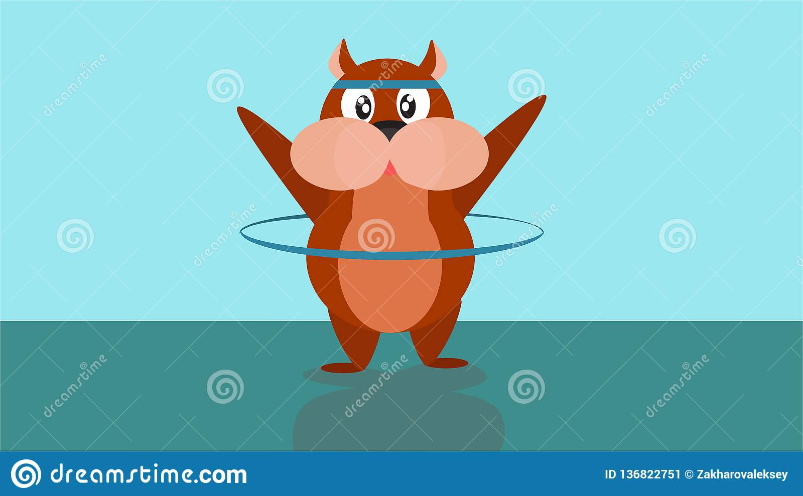 Sticker for messenger app with fun animals. The hamster turns the Hoop