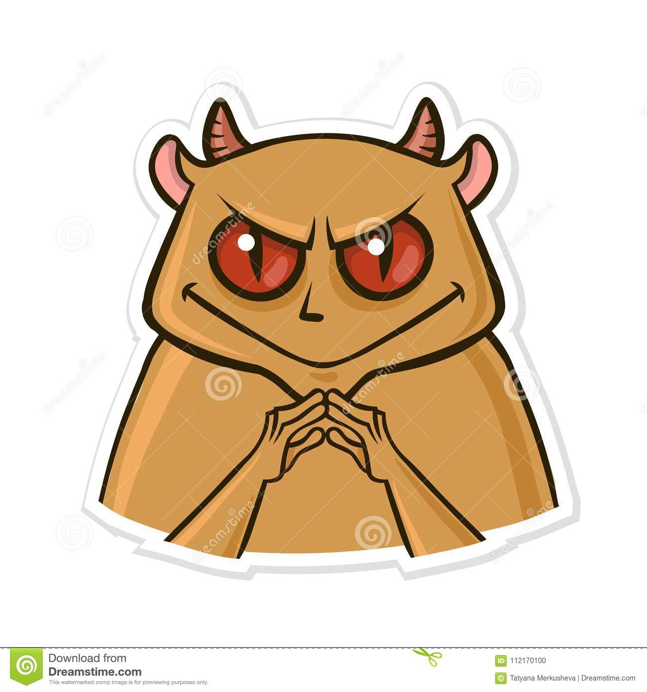 Sticker for messenger with funny animal. Devil hamster is up to something. Vector illustration isolated on white