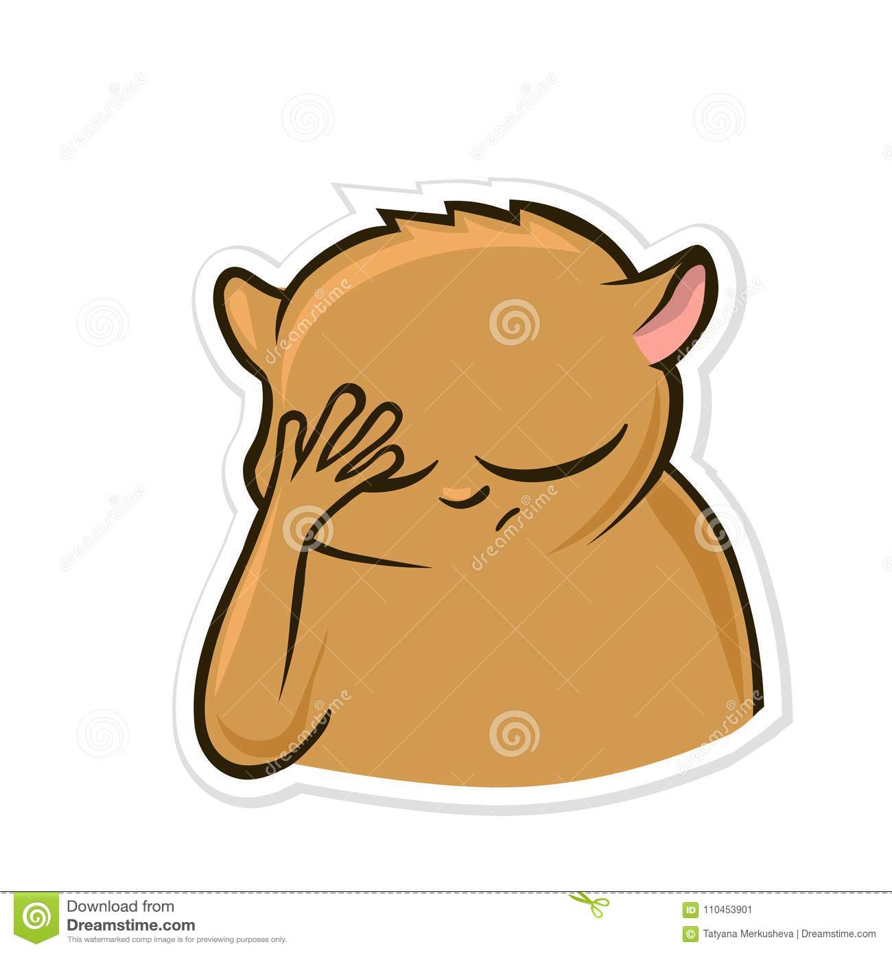Sticker for messenger with funny animal. Hamster making facepalm gesture, feeling ashamed. Vector illustration, isolated