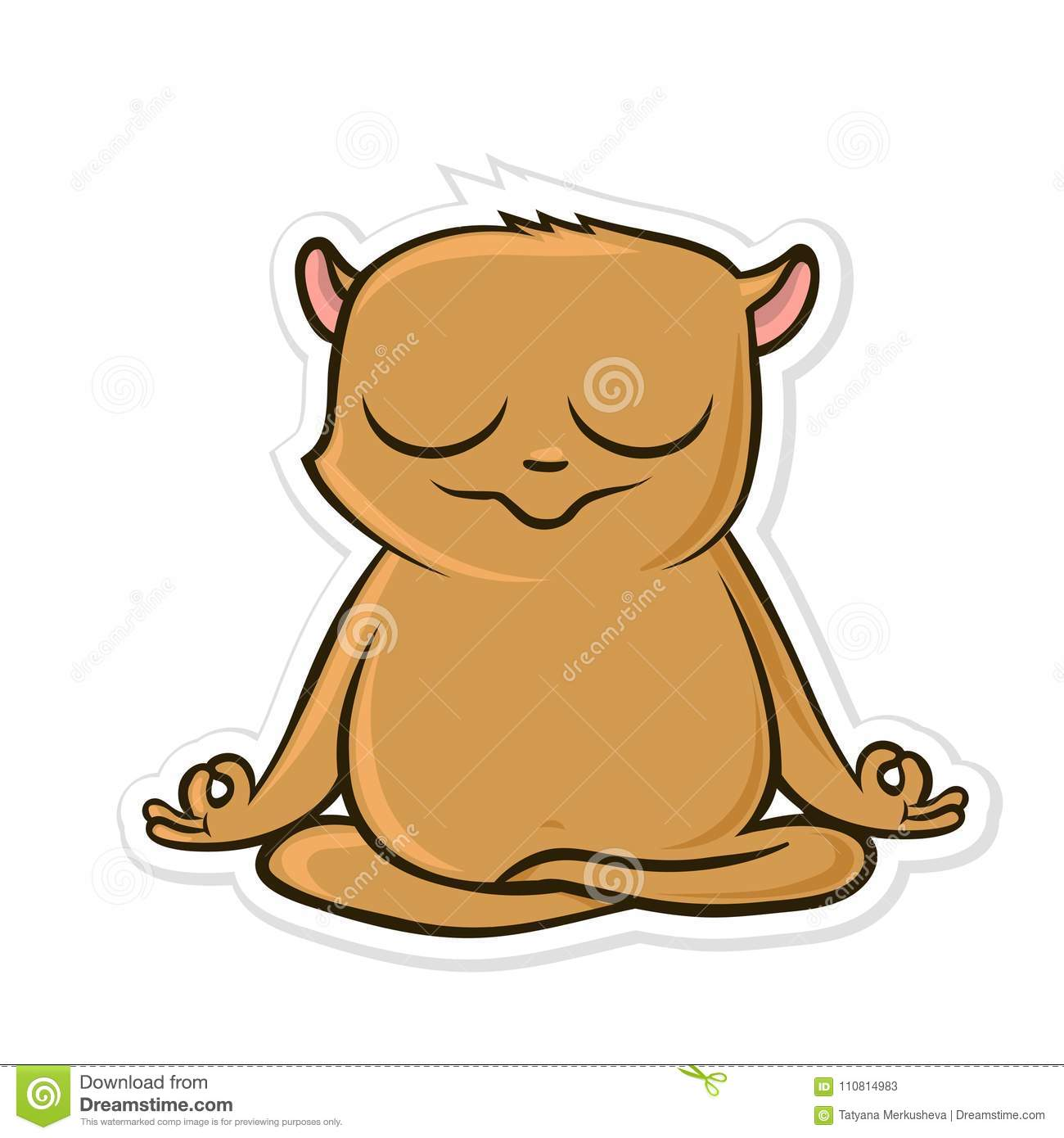 Sticker for messenger with funny animal. Hamster practicing yoga, sitting in Lotus position. Vector illustration